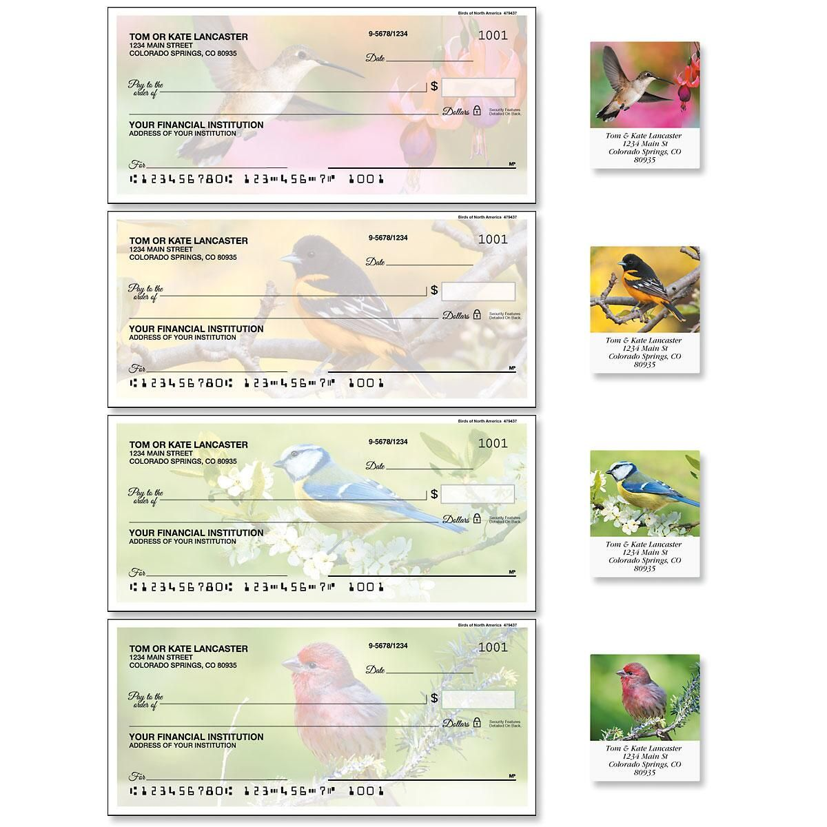 Birds of America Single Checks with Matching Address Labels