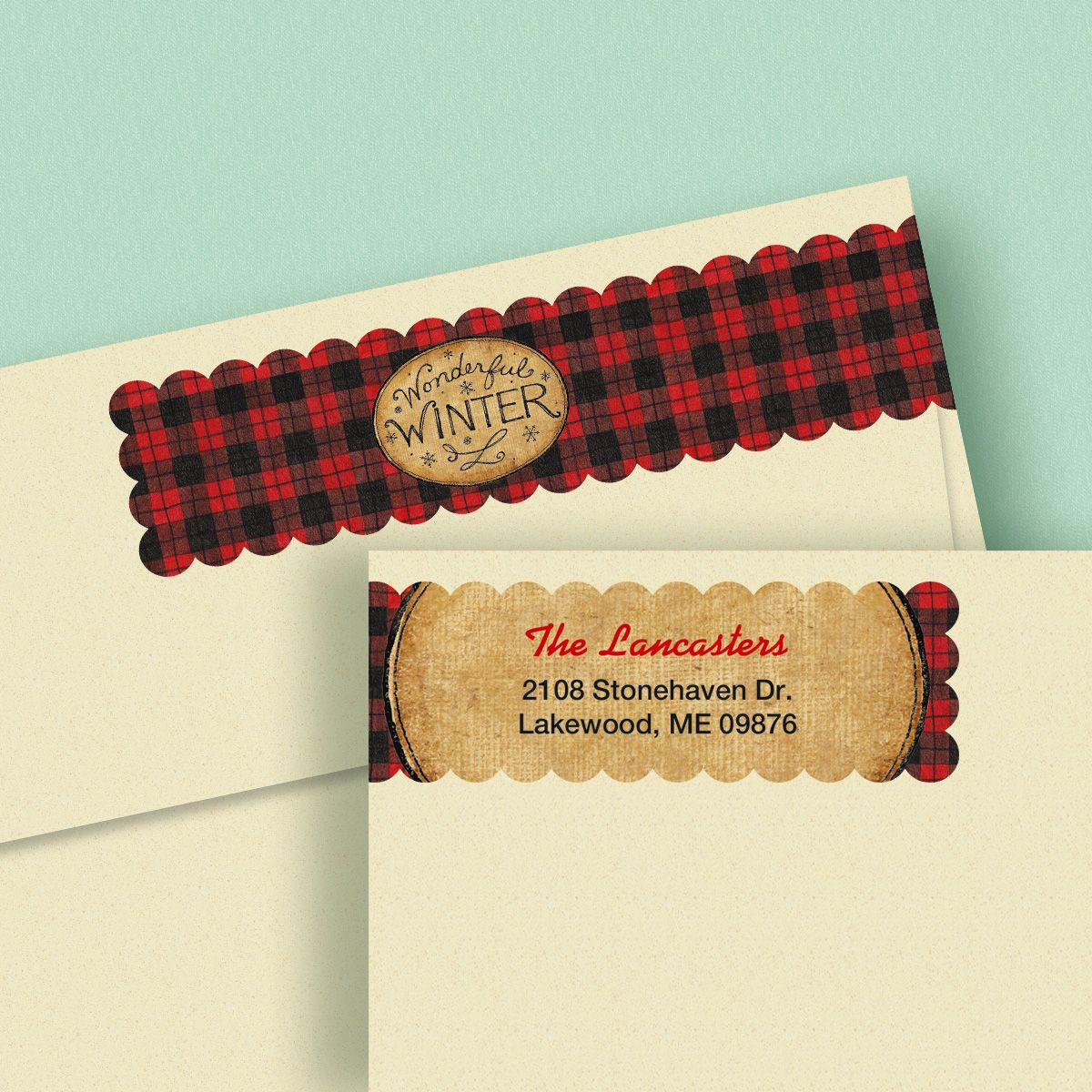 Winter Red Connect Wrap Diecut Address Labels (4 Designs)