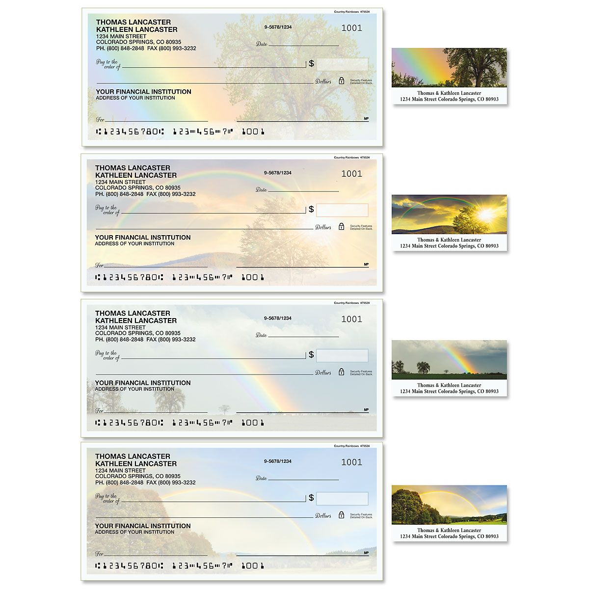 Country Rainbows Single Checks with Matching Address Labels