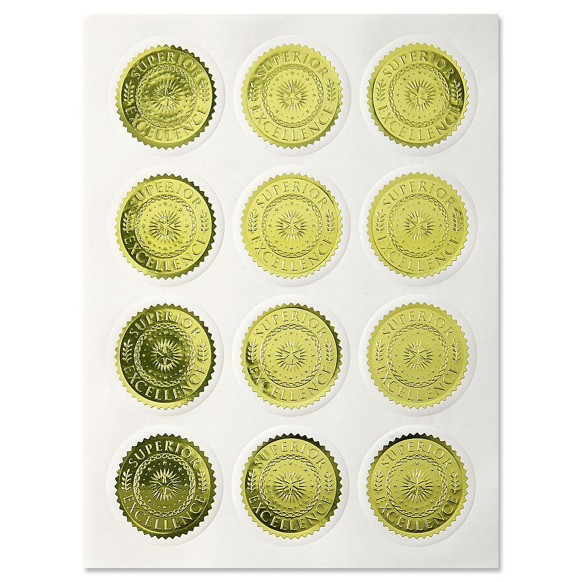Gold Excellence Certificate Seals