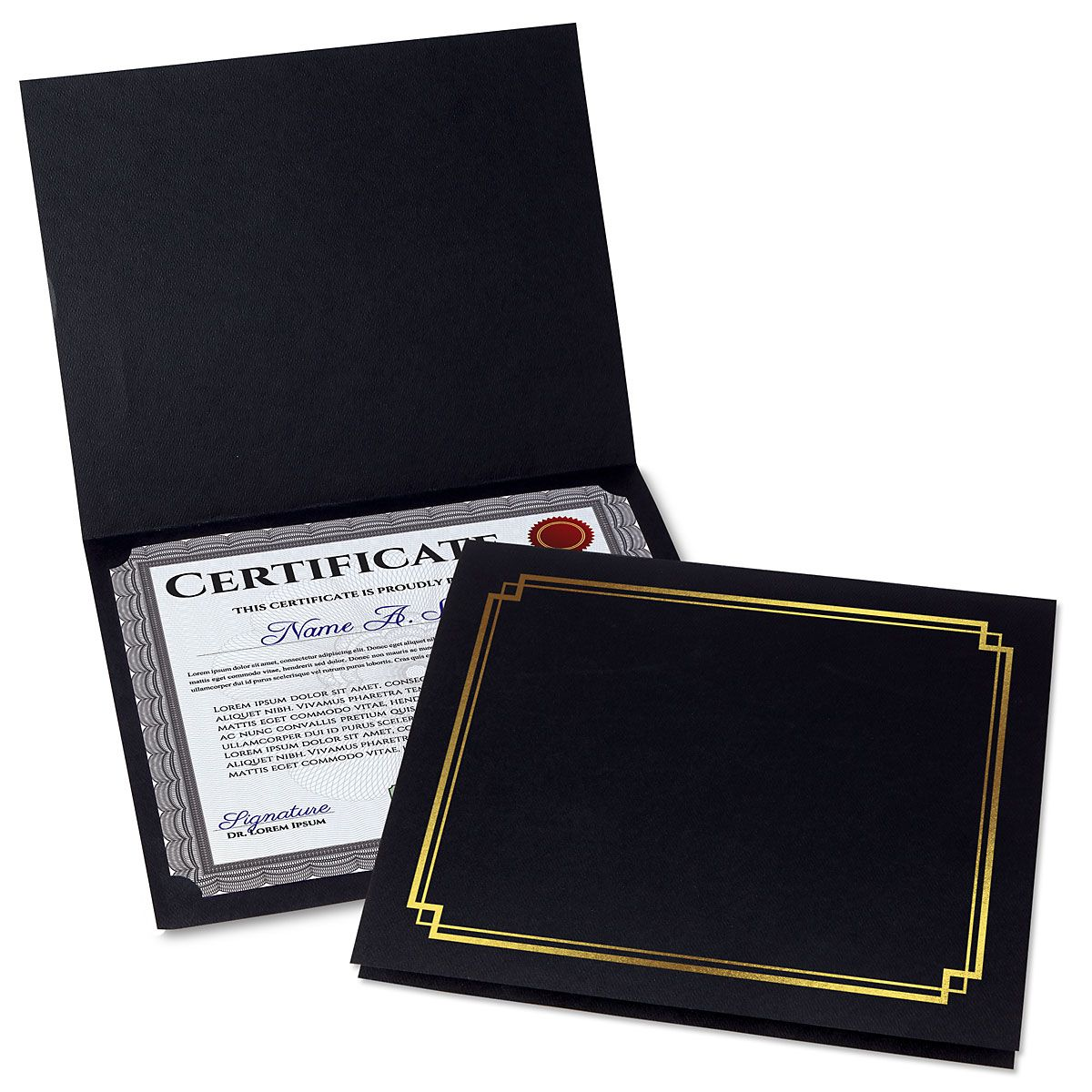 Classic Black Certificate Folder with Gold Border