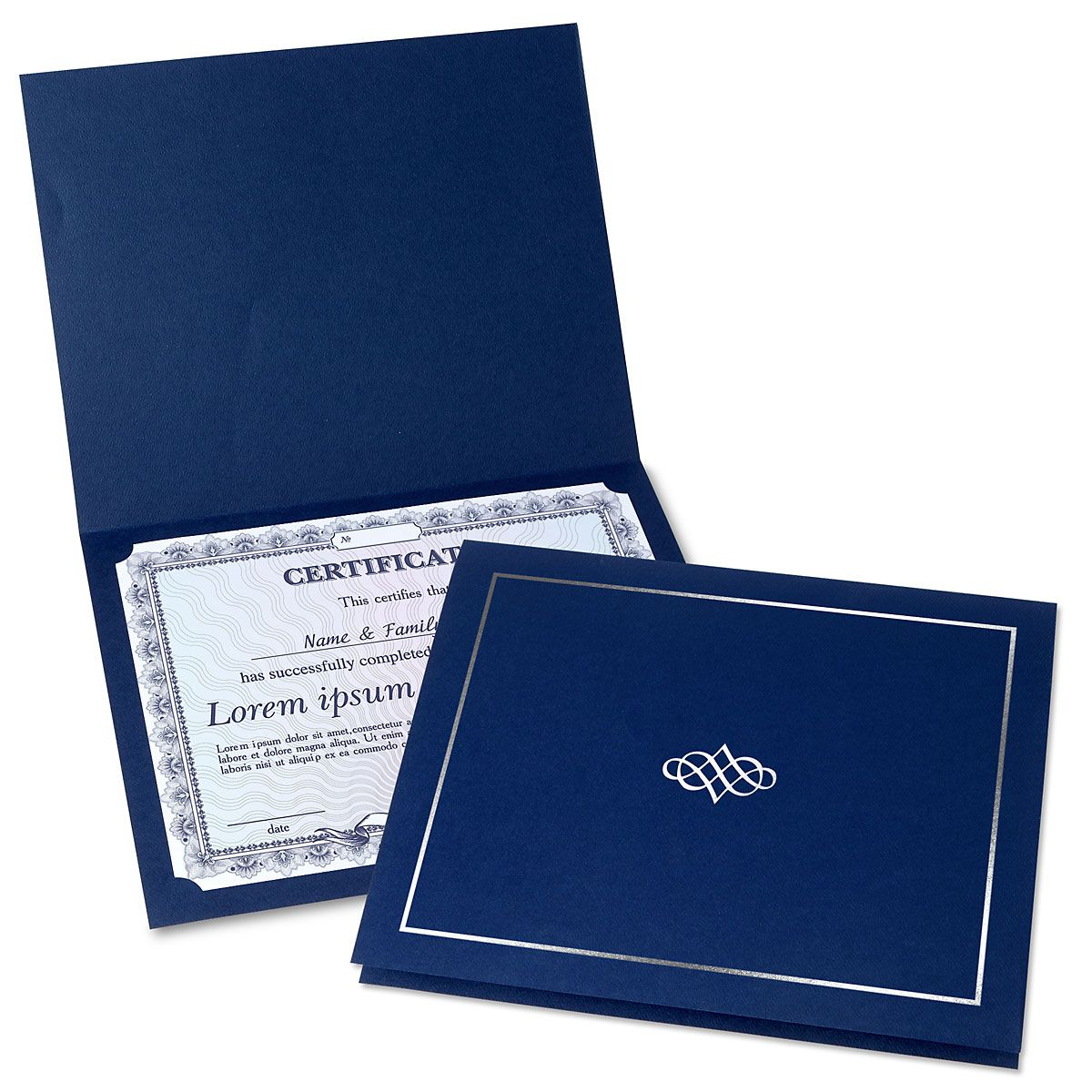 Ornate Blue Certificate Folder with Silver Border/Crest