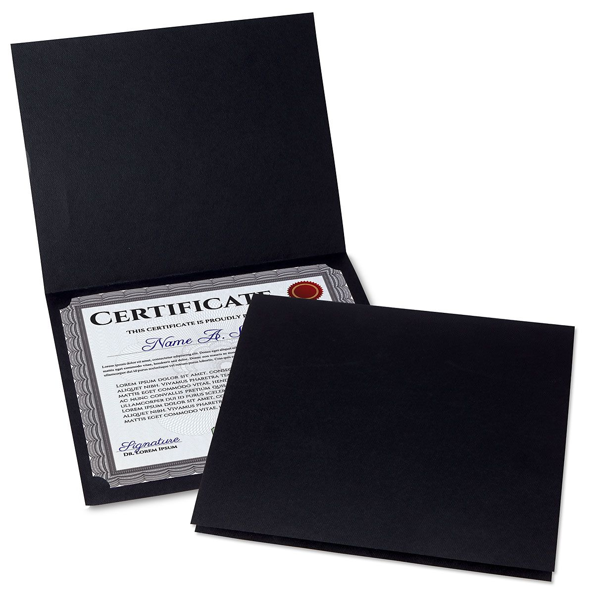 Plain Black Certificate Folder - Set of 25