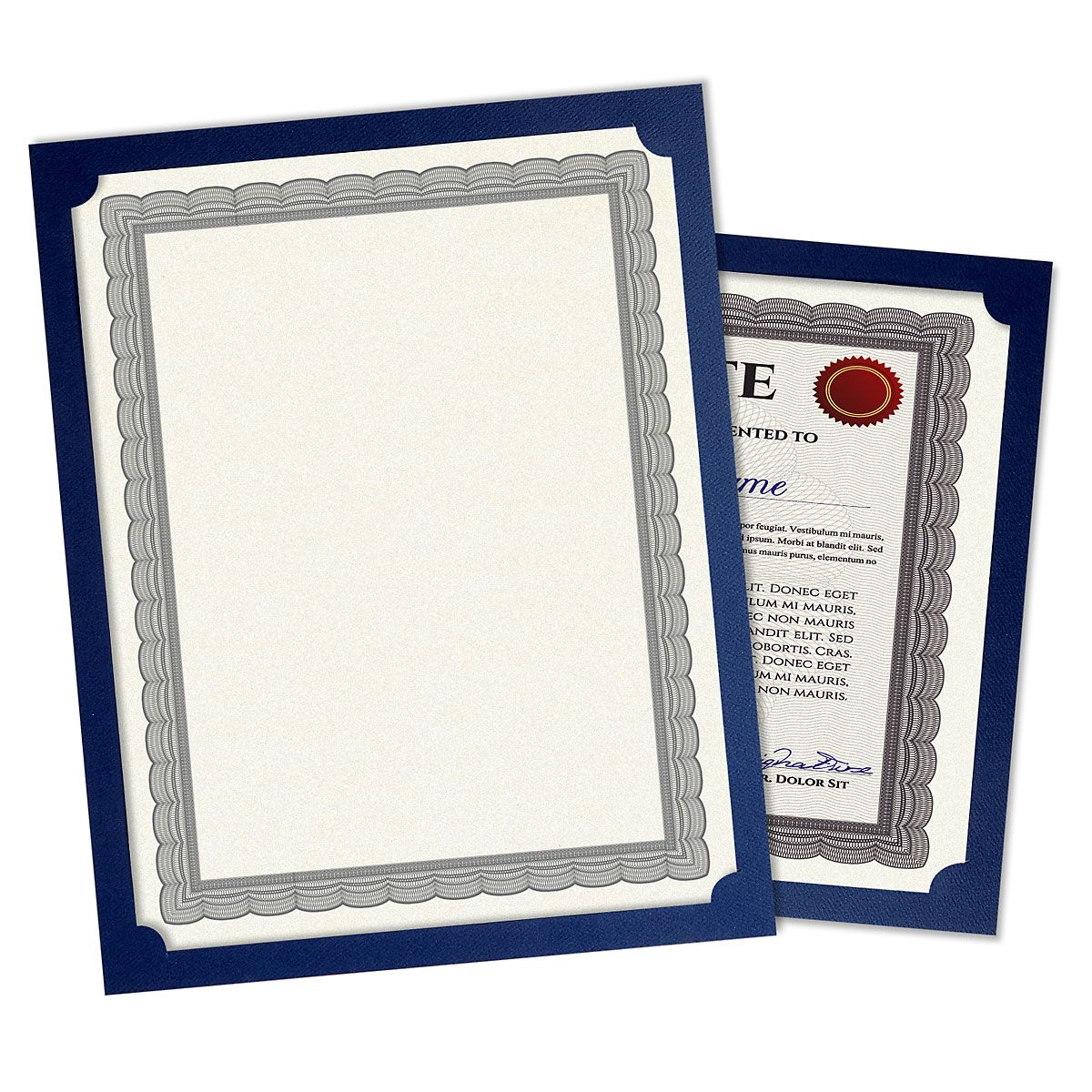 Plain Blue Certificate Holders - Set of 10