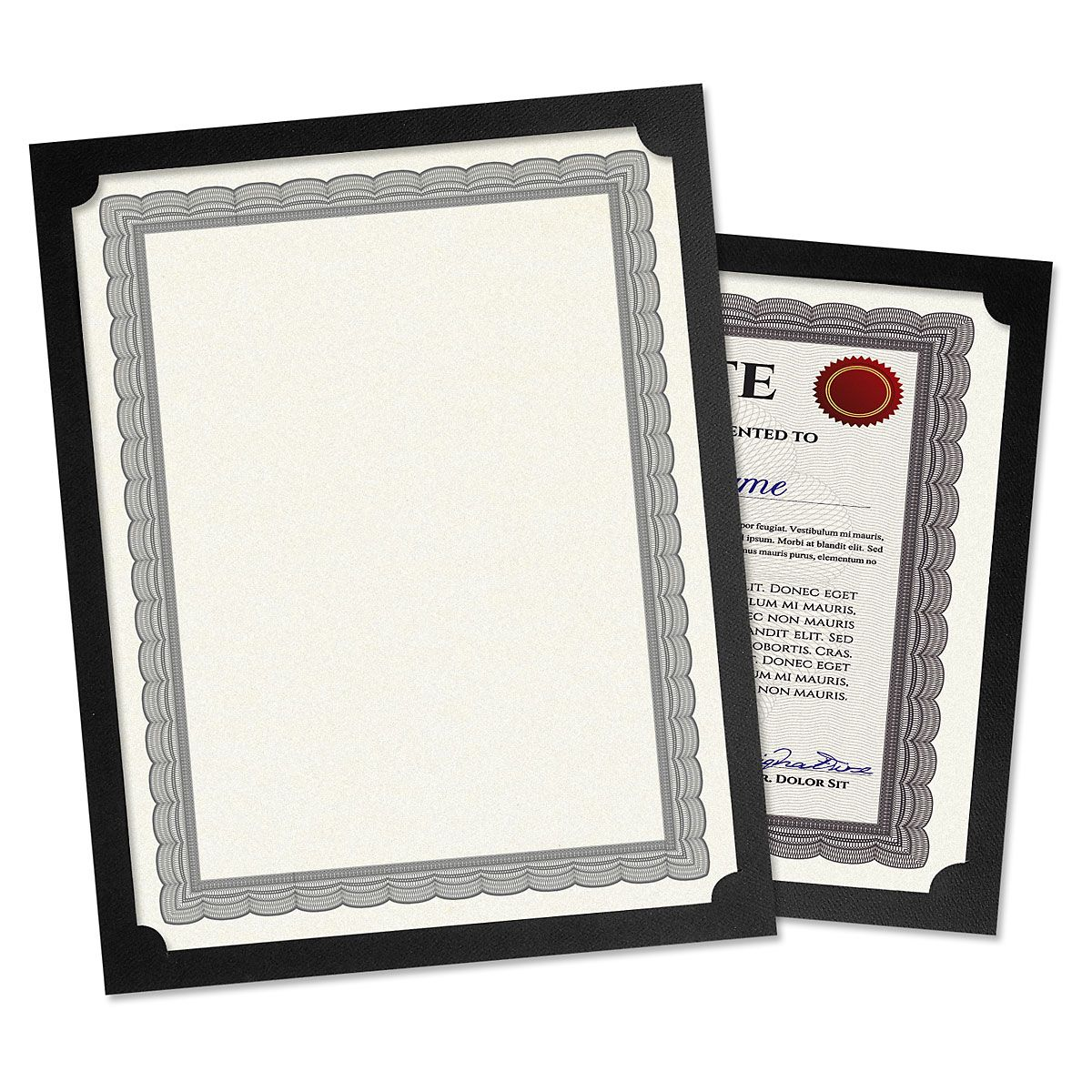 Plain Black Certificate Holder - Set of 10