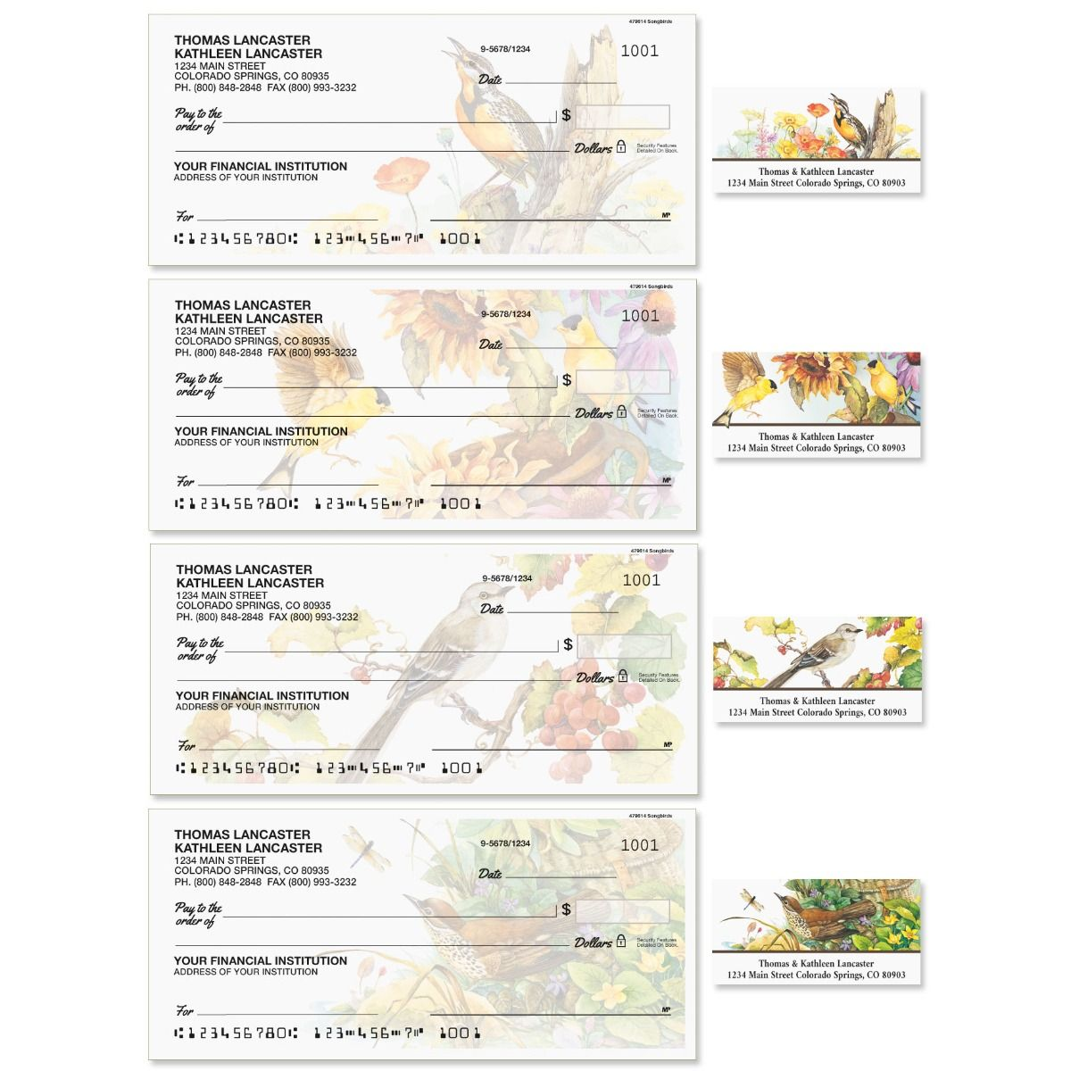 Songbirds Single Checks with Matching Address Labels