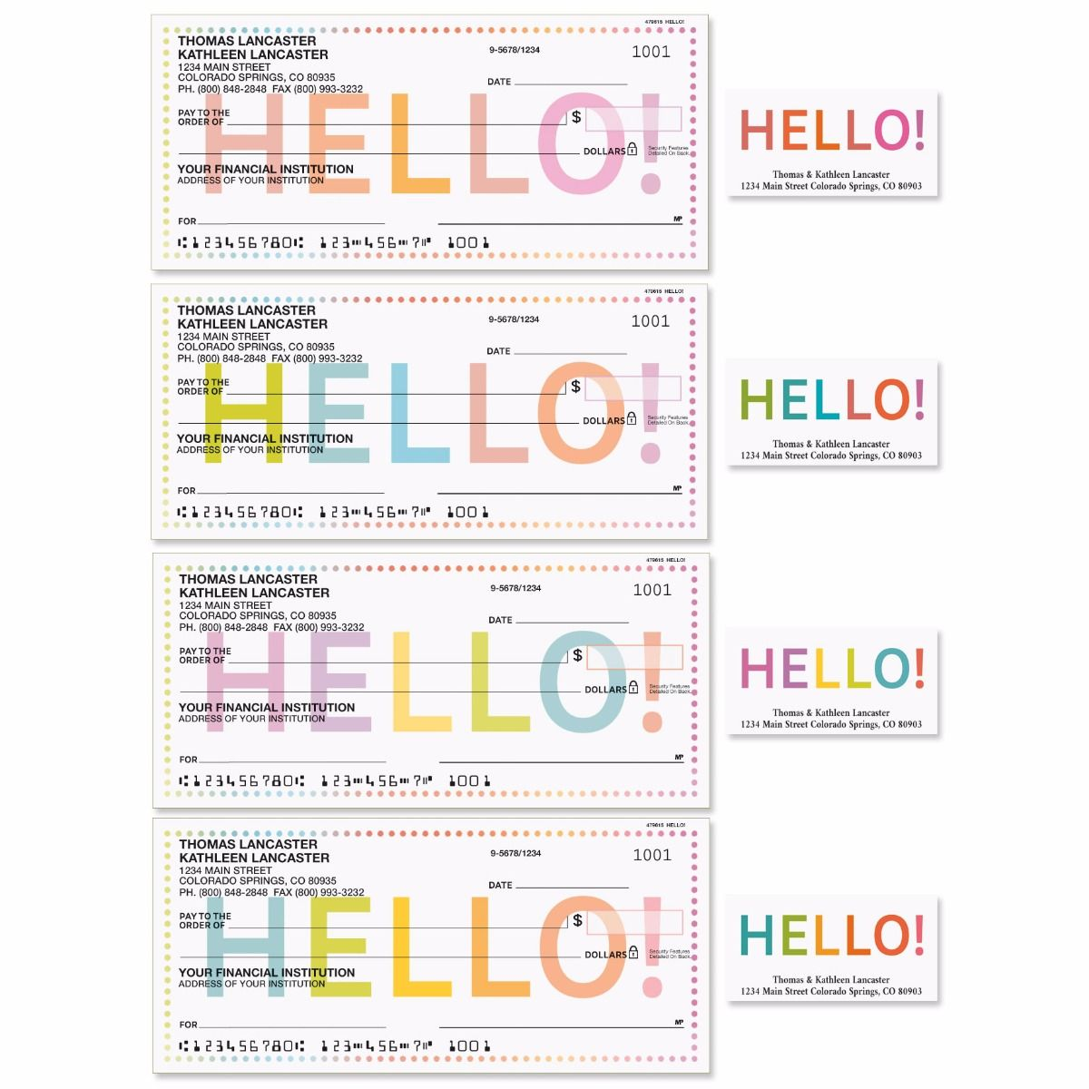 Hello Single Checks with Matching Address Labels