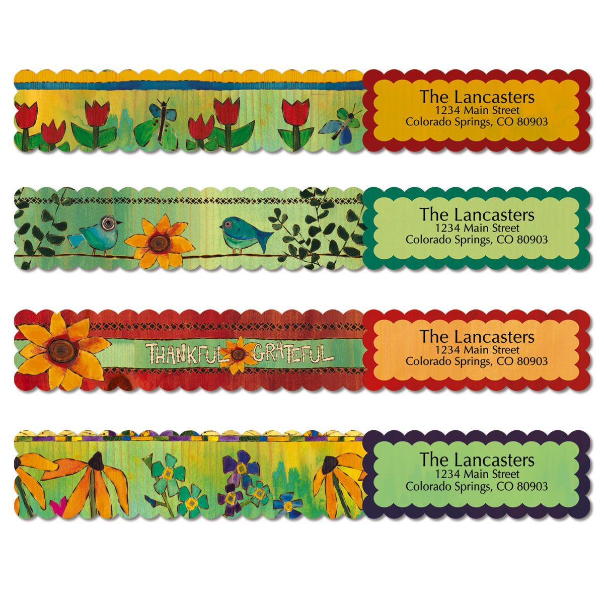 Lovely Garden Wrap Around Address Labels (4 Designs)