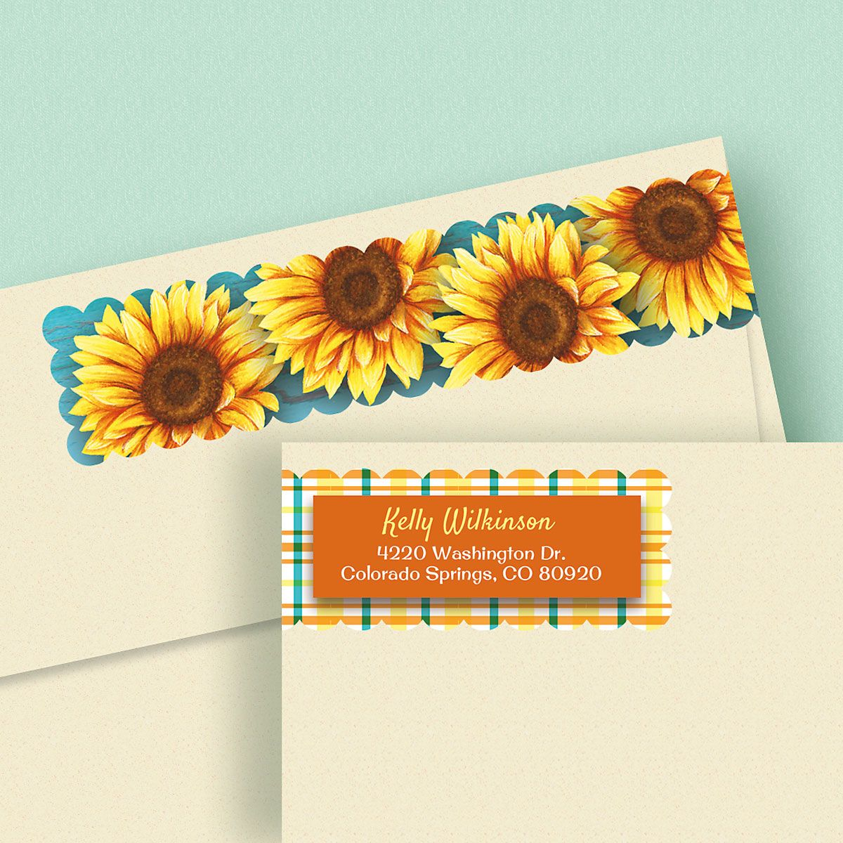 Summer Sunflower Wrap Around Address Labels
