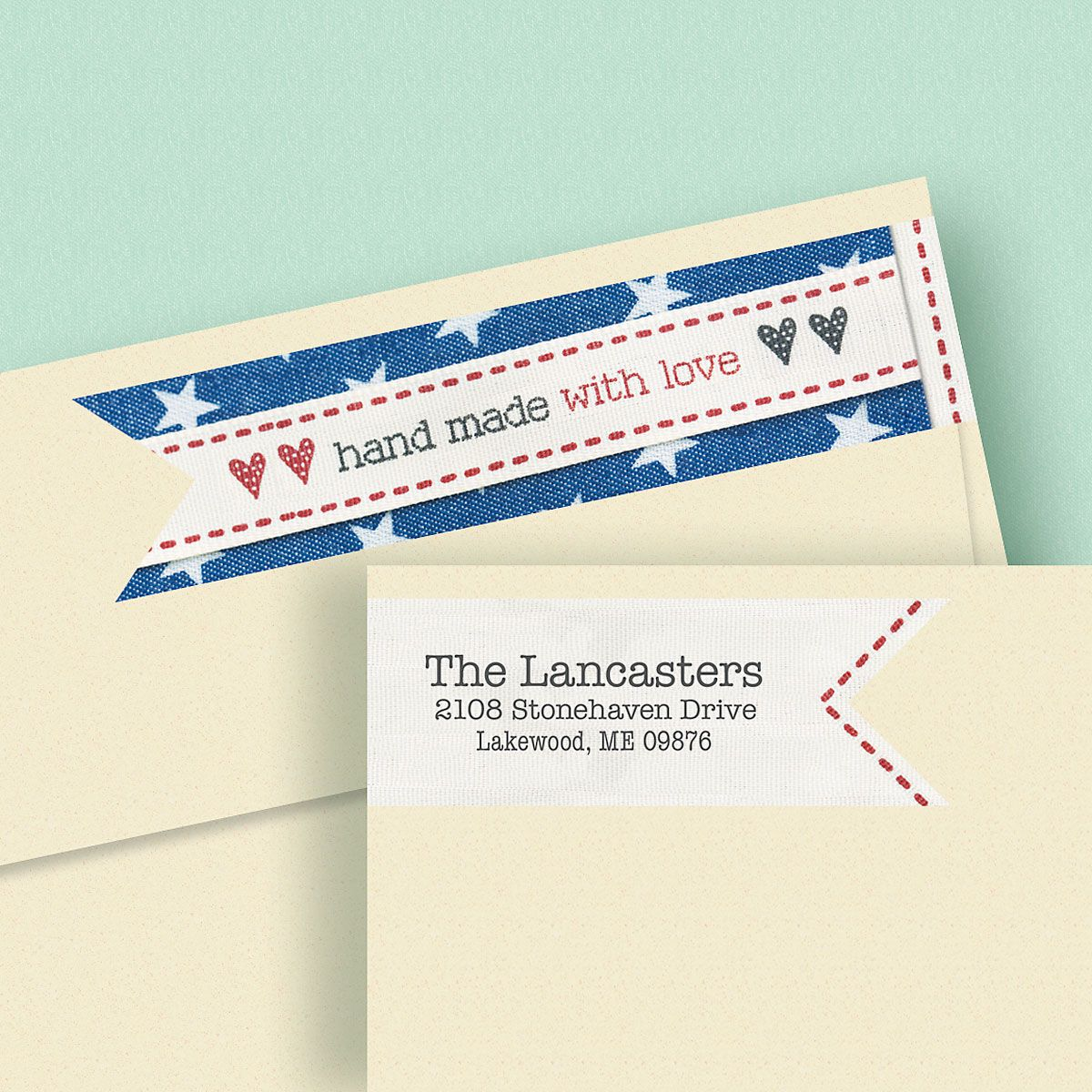 Hand Made with Love Wrap Around Address Labels
