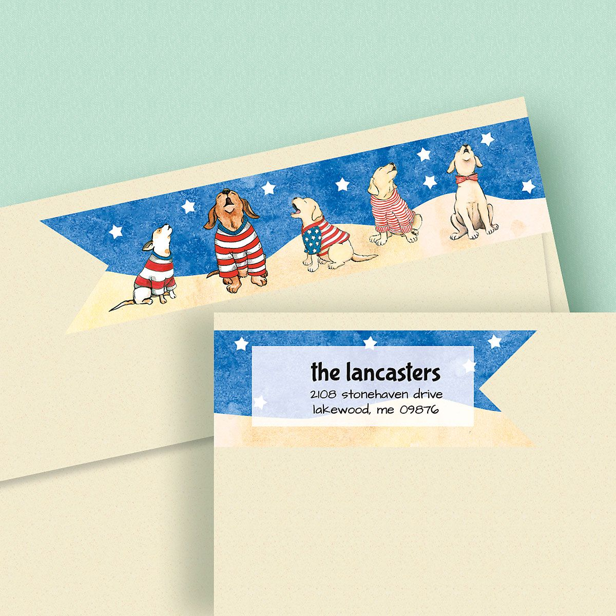 Patriotic Howlers Wrap Around Address Labels