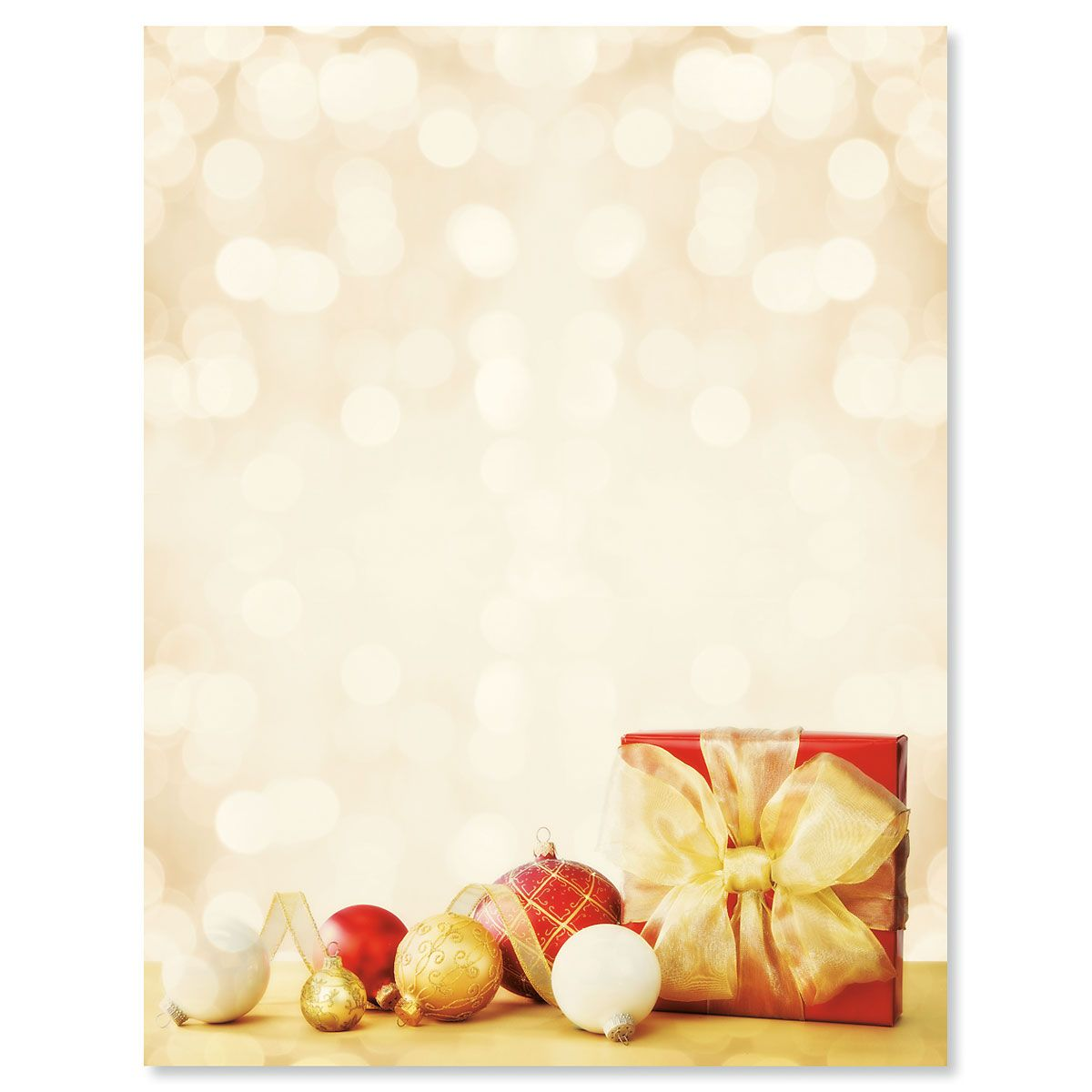 Red and Gold Gift Christmas Letter Papers
