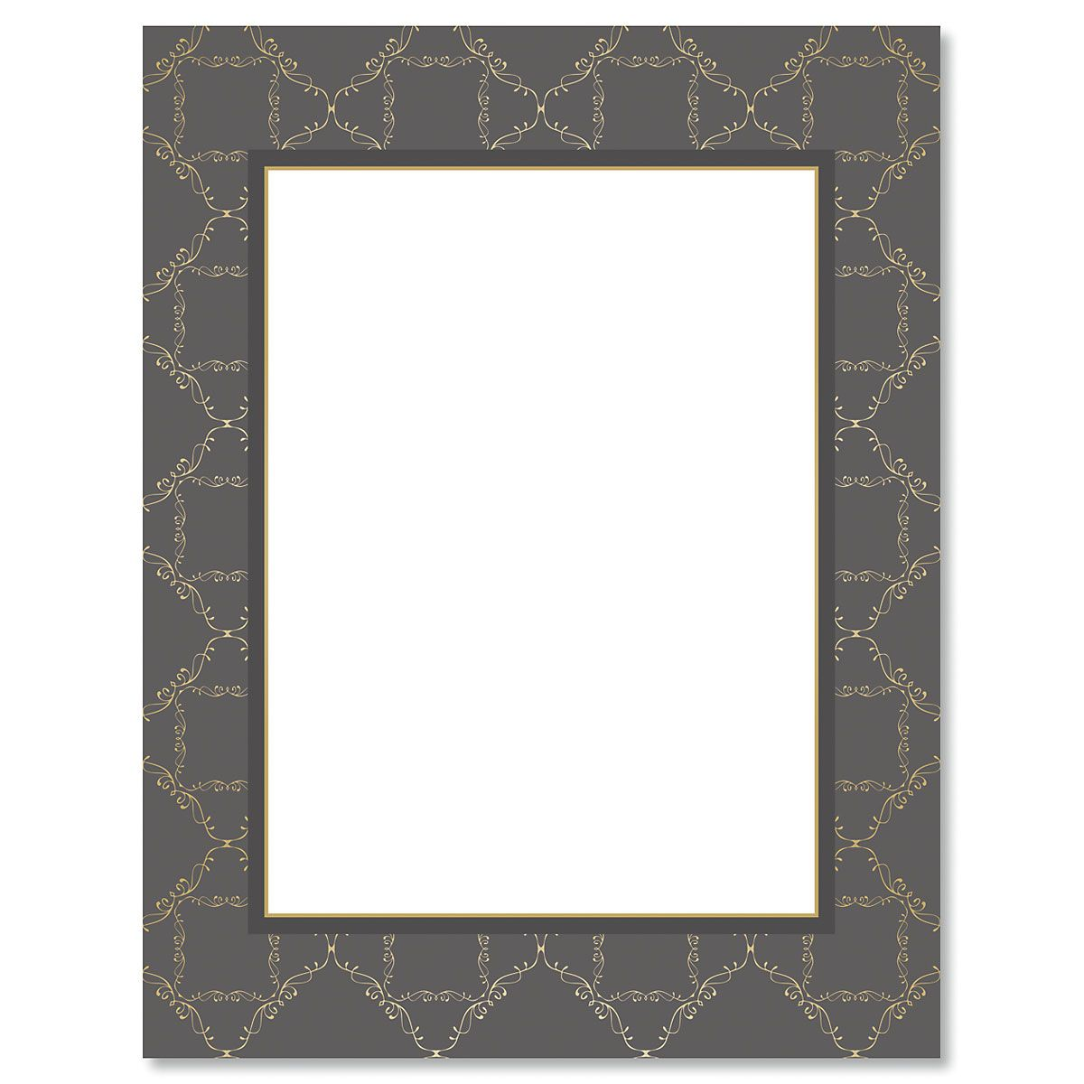 Charcoal Damask Frame Christmas Letter Papers