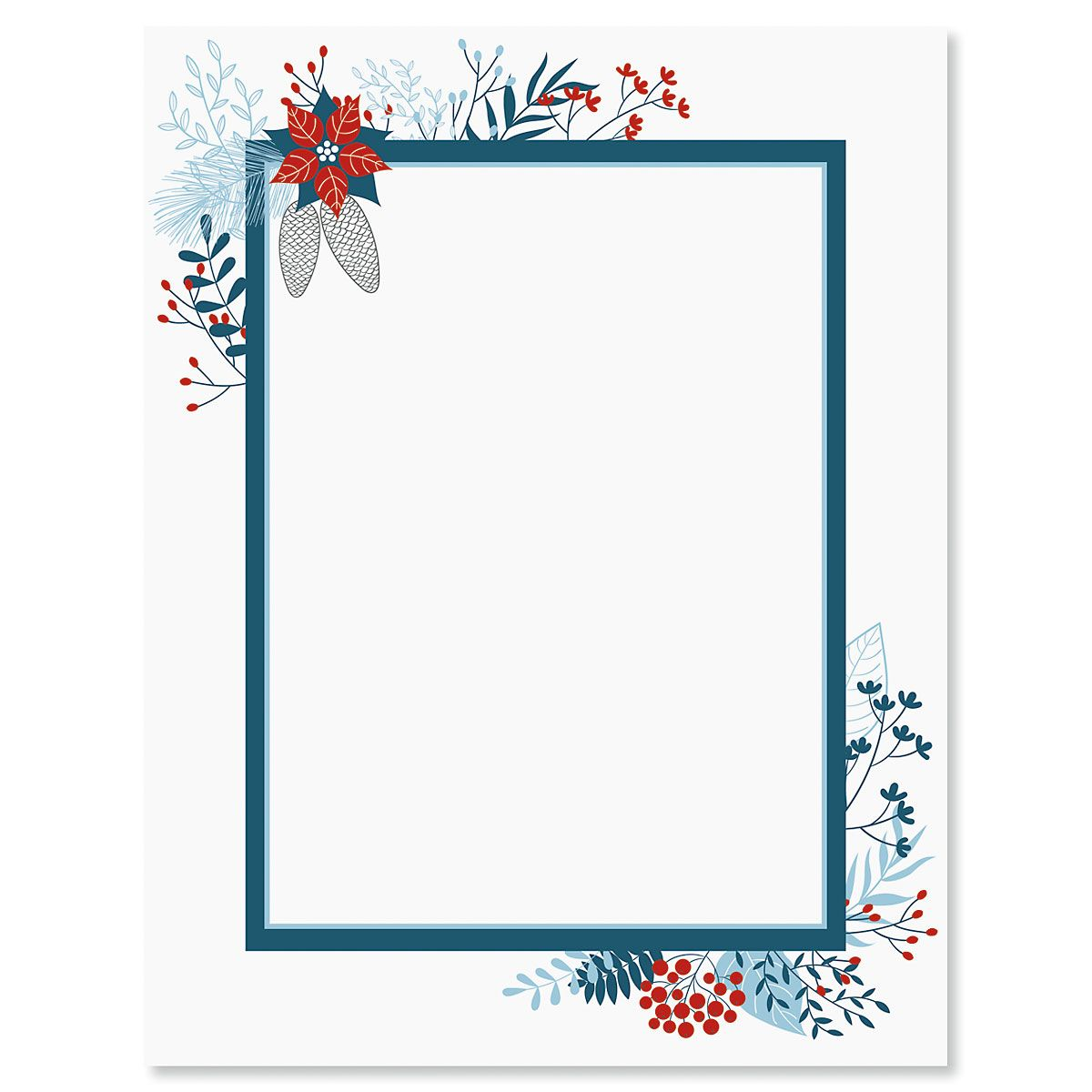 Blue Holiday Flourish Christmas Letter Papers