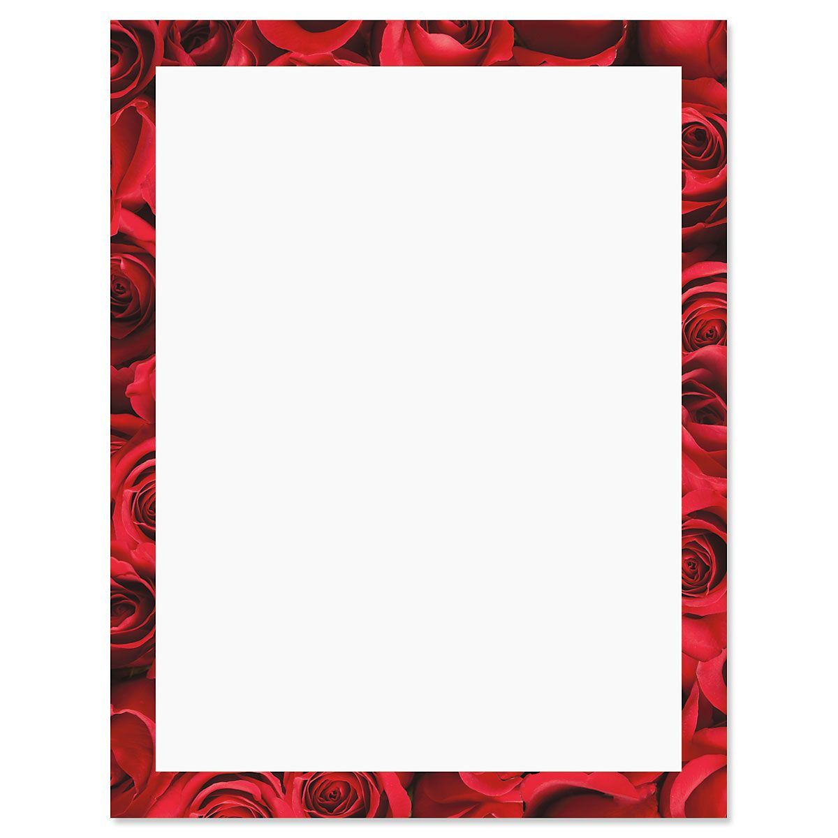 Bed of Roses Frame on White Letter Papers