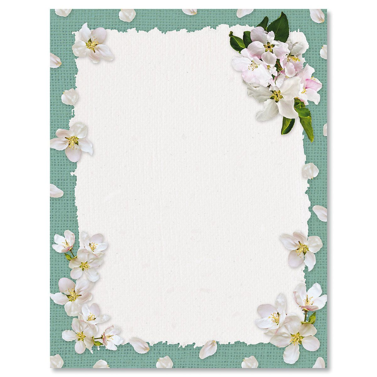 White Spring Blooms Letter Papers