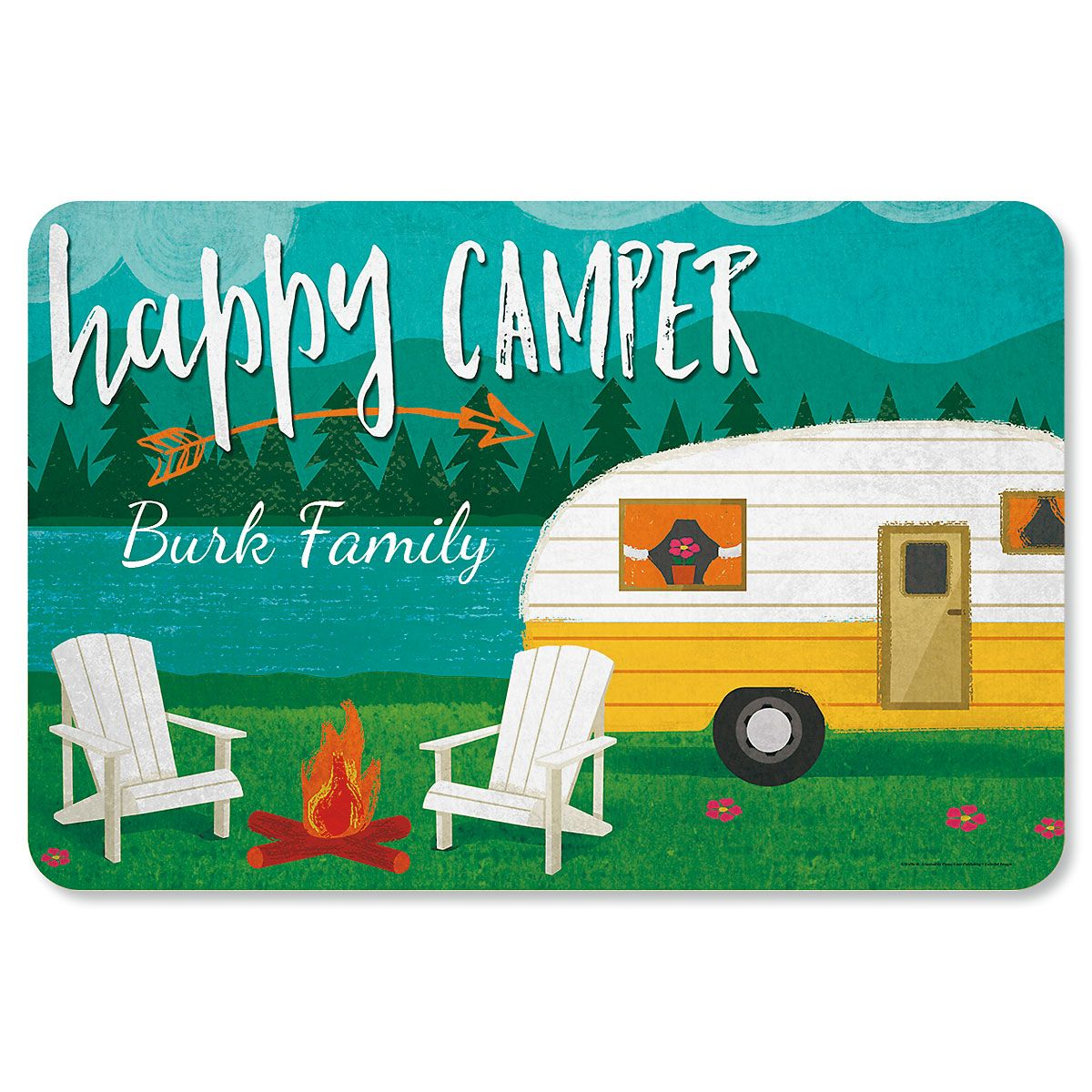 Happy Camper Personalized Doormat