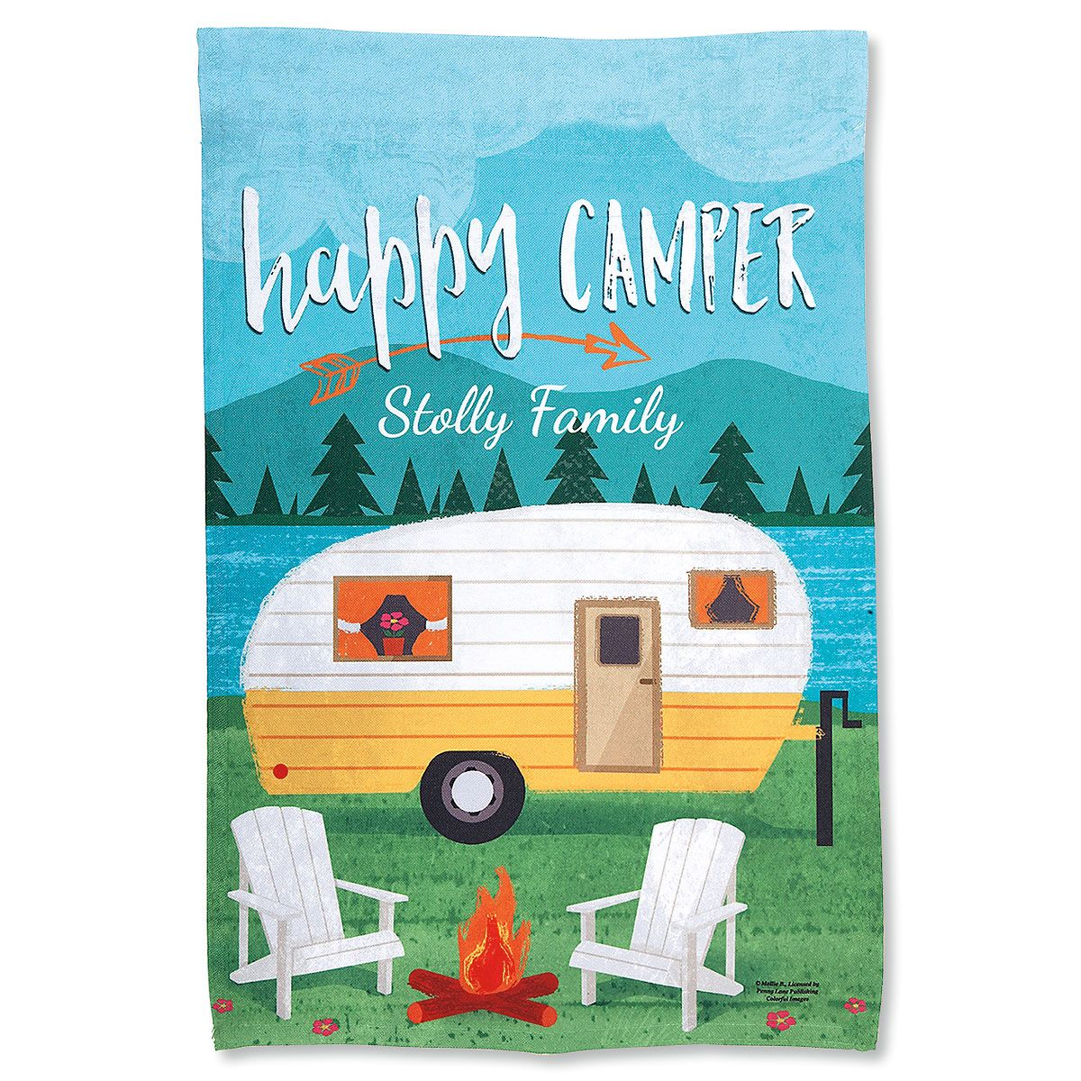 Happy Camper Personalized Garden Flag