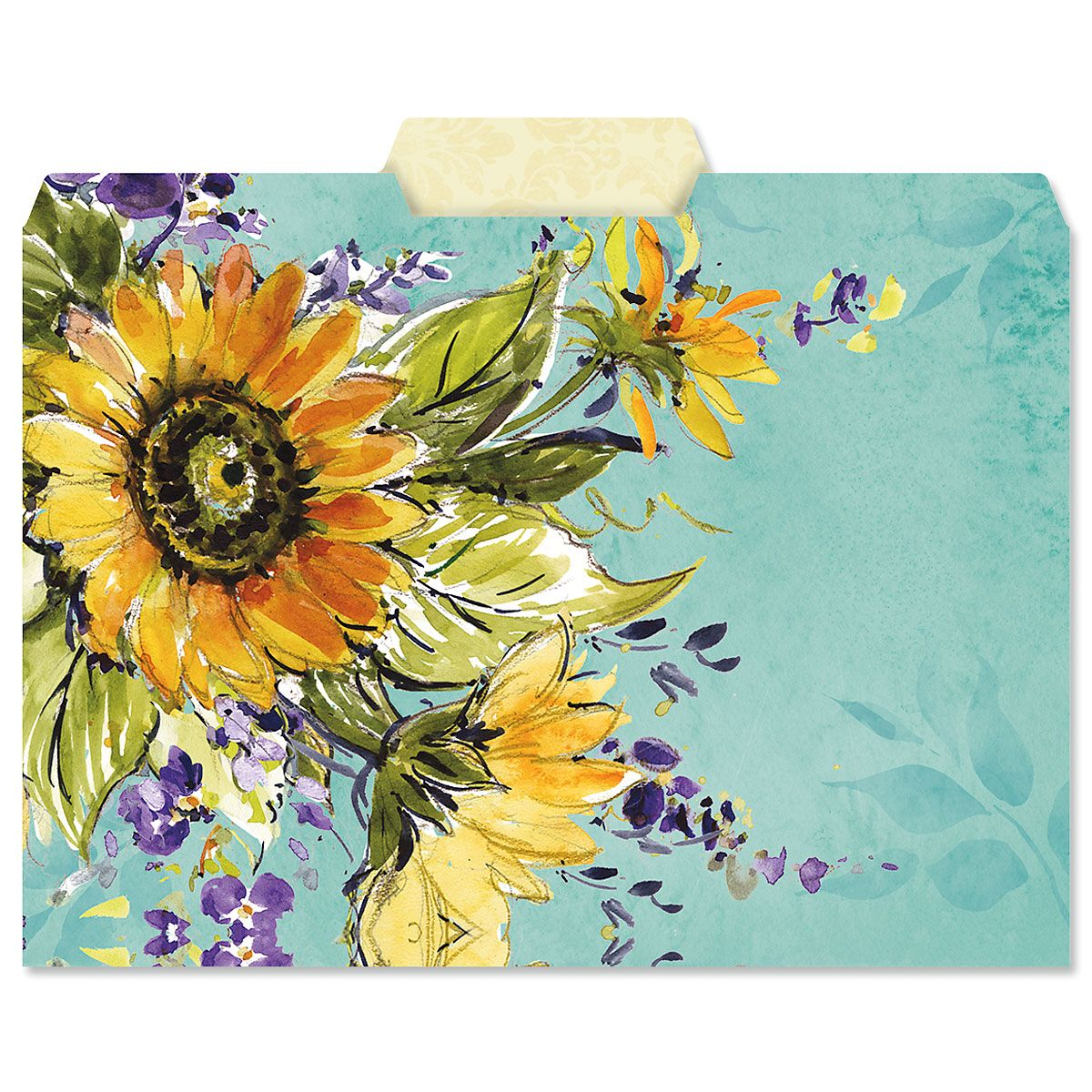 Watercolor Sunflower File Folders