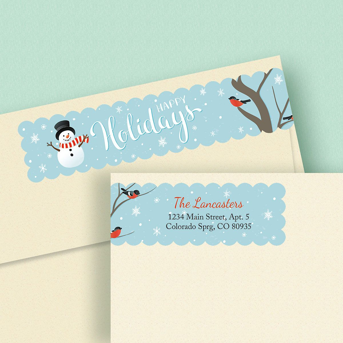 Winter Holidays Wrap Around Address Labels