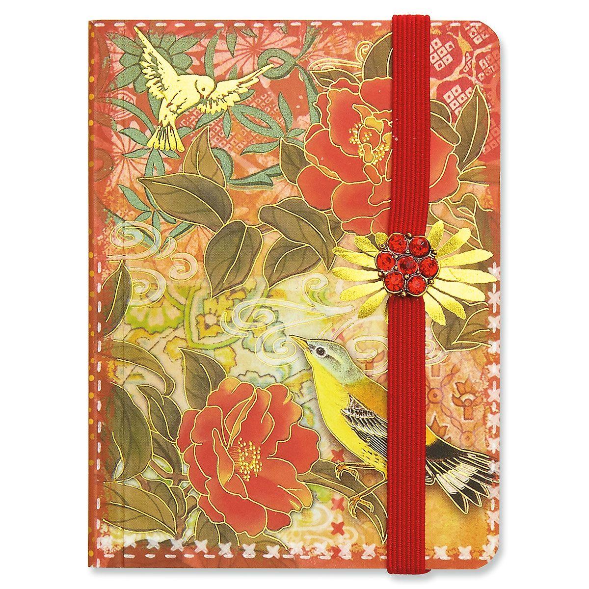 Red Blossom Sparrow Pocket Notepad