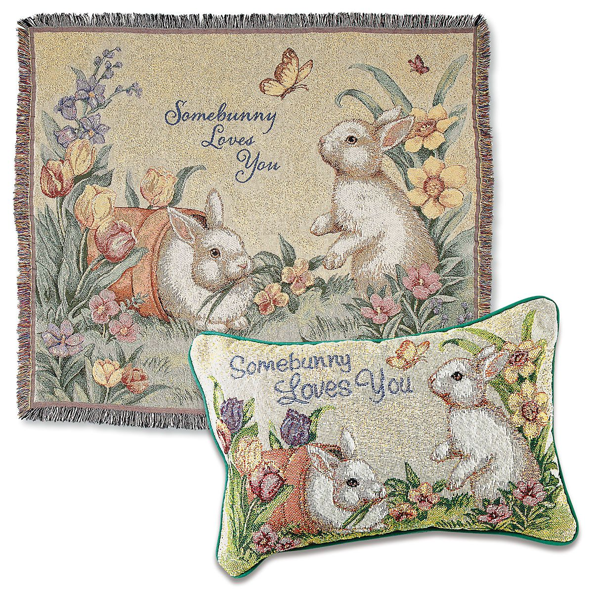 Somebunny Loves You Easter Throw and Pillow