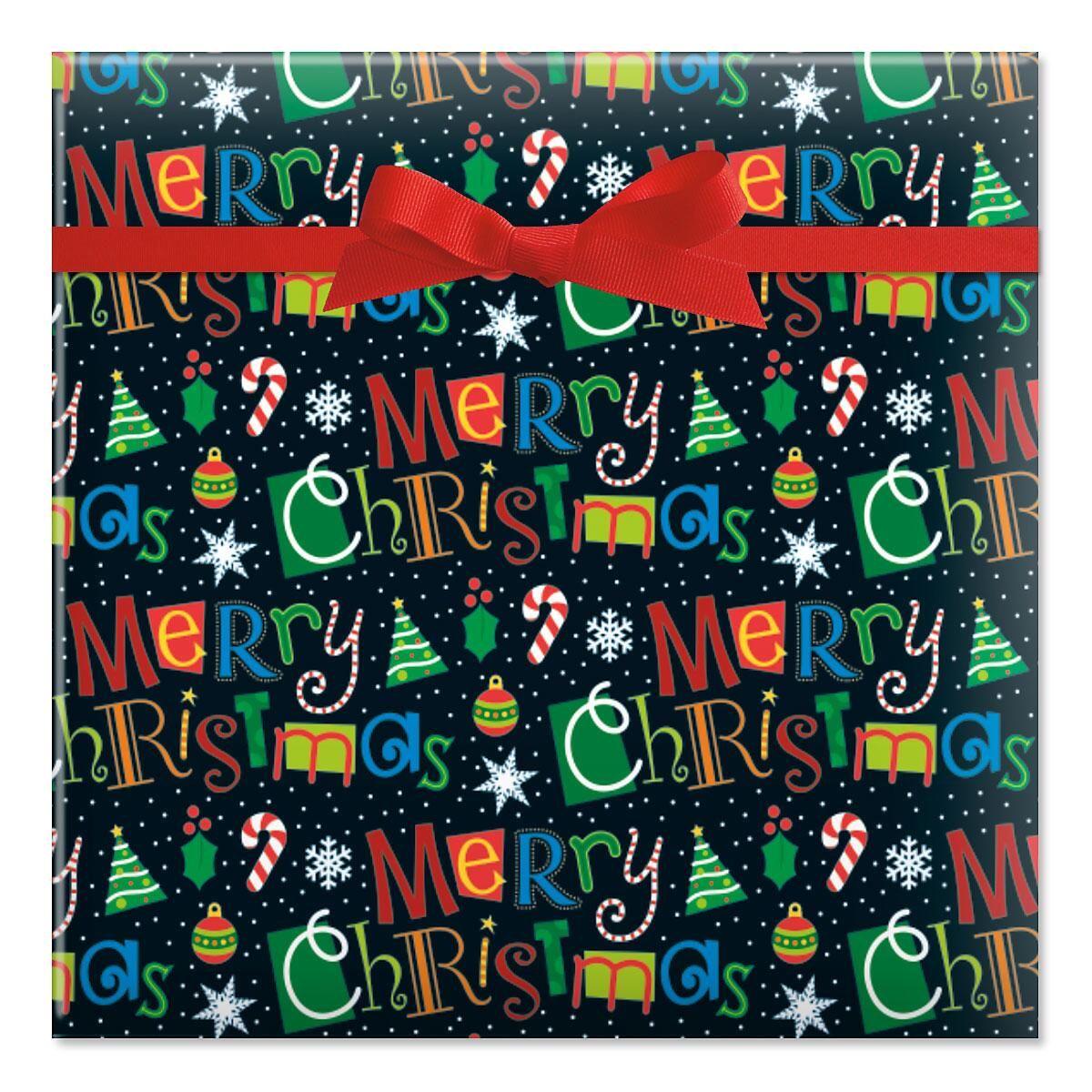 Merry Christmas on Black Jumbo Rolled Gift Wrap