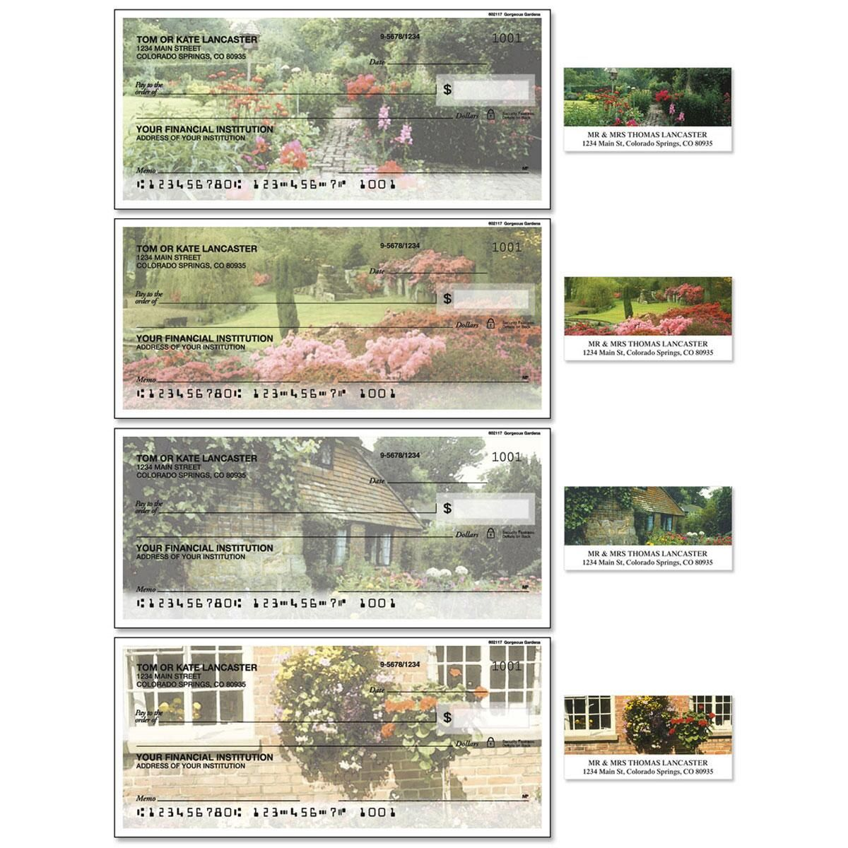 Gorgeous Gardens Single Checks with Matching Address Labels