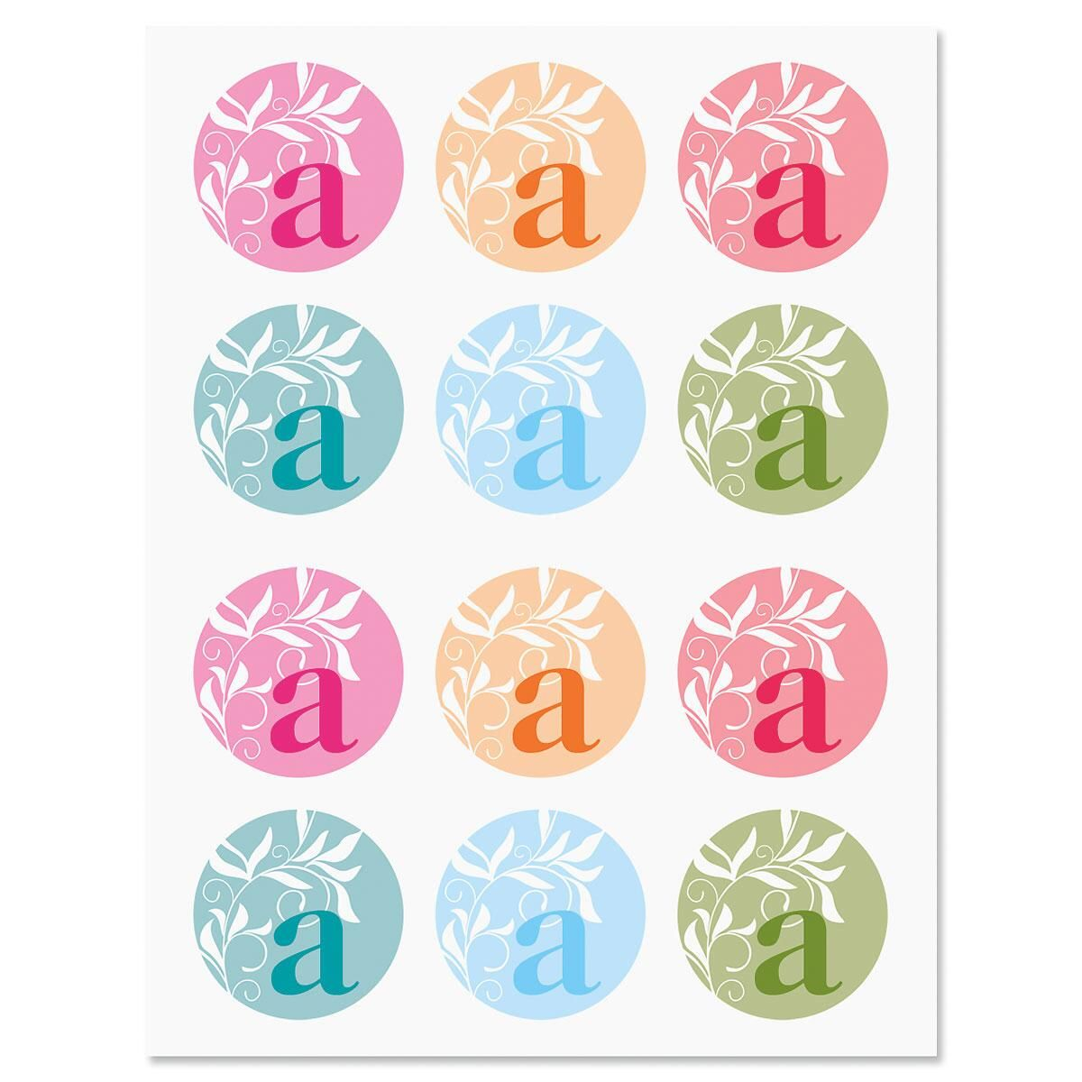 Color Monogram Stickers