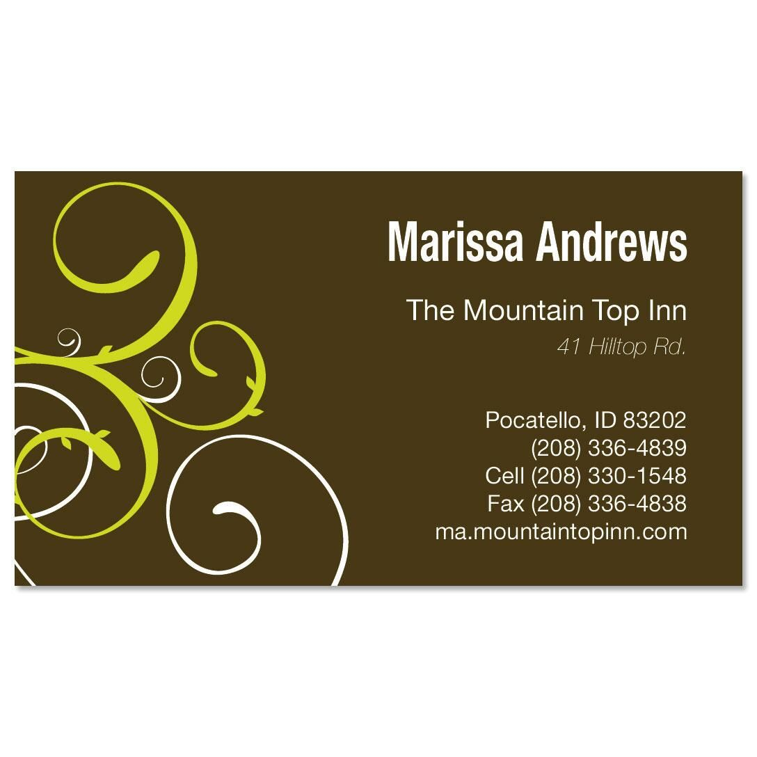 Green Swirl Business Cards