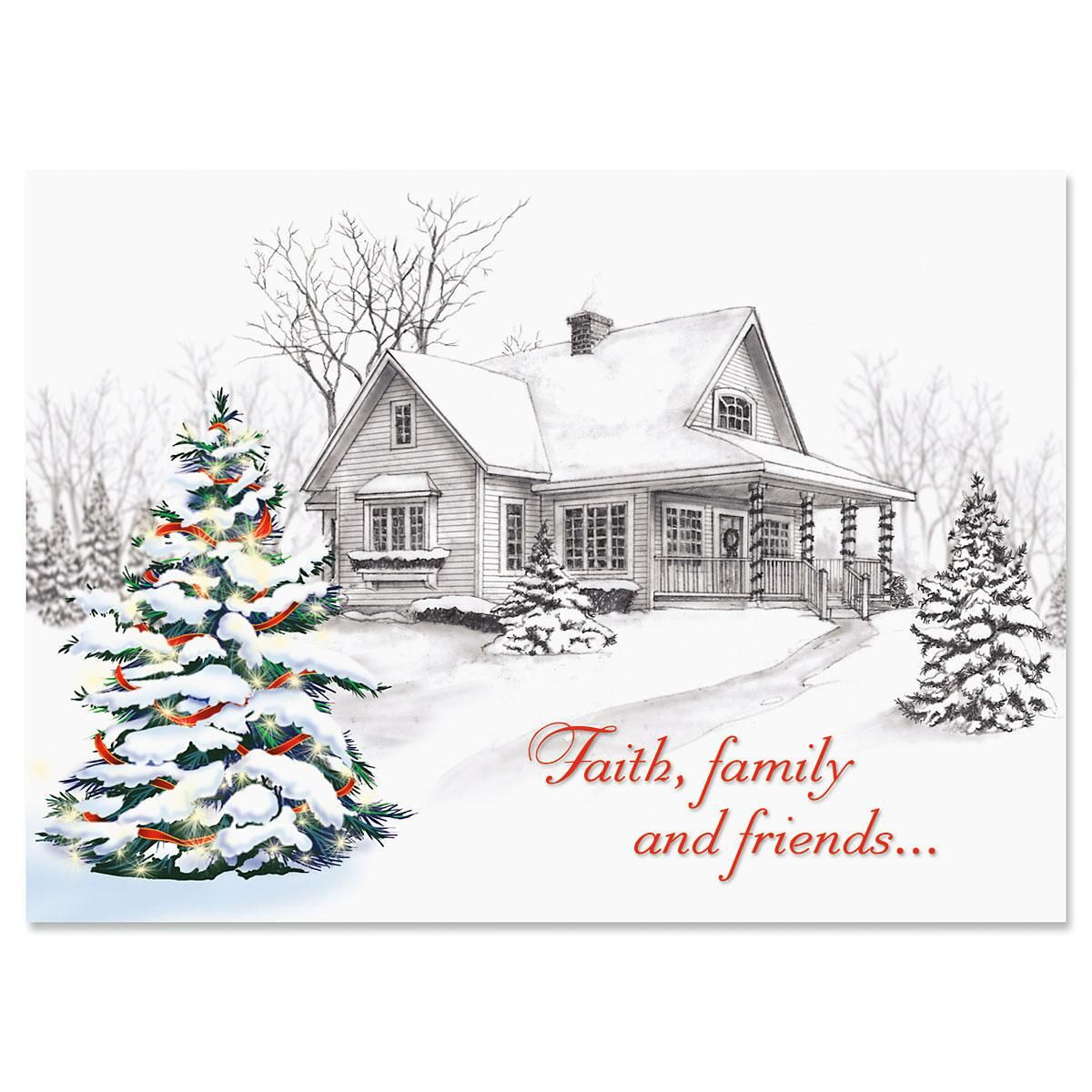 Winter Home Nonpersonalized Christmas Cards - Set of 18