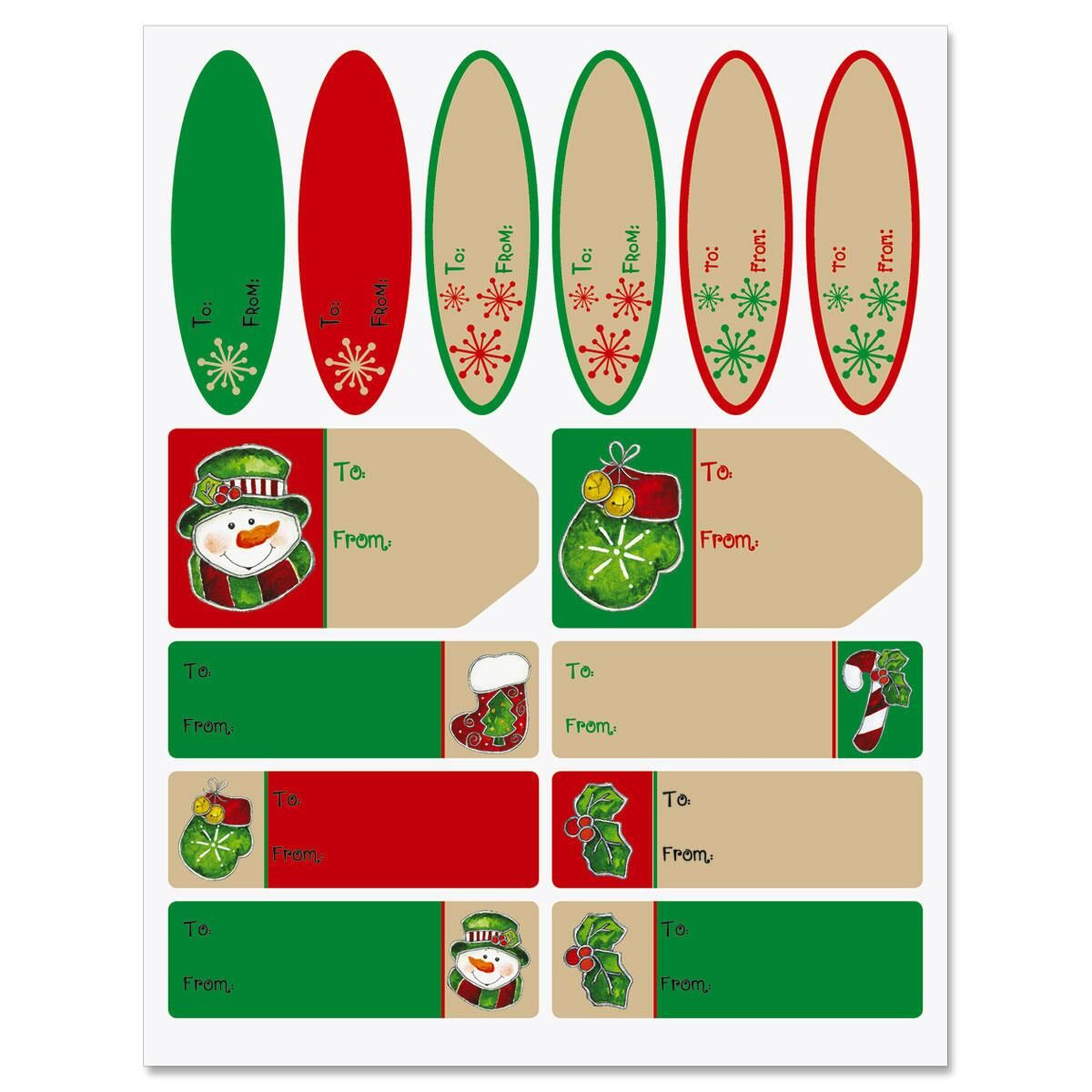 Country Mittens Christmas Gift Labels