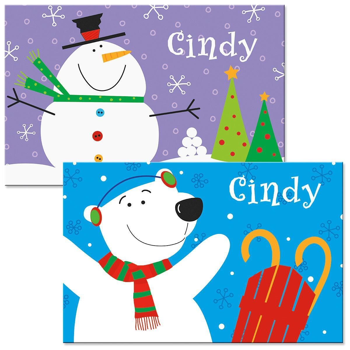 Snowman/Bear Kids' Personalized Christmas Placemat