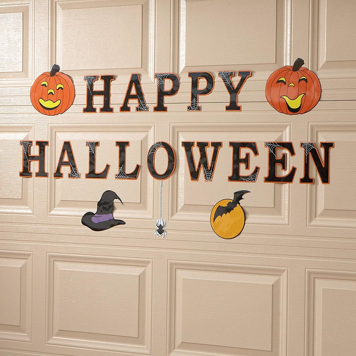 Halloween Garage Door Magnets Set of weather-resistant garage door magnets includes a witch's hat, a moon with a bat, a spider, 2 jack-o'-lanterns and 6  letters that spell  Happy Halloween.  Set of 19