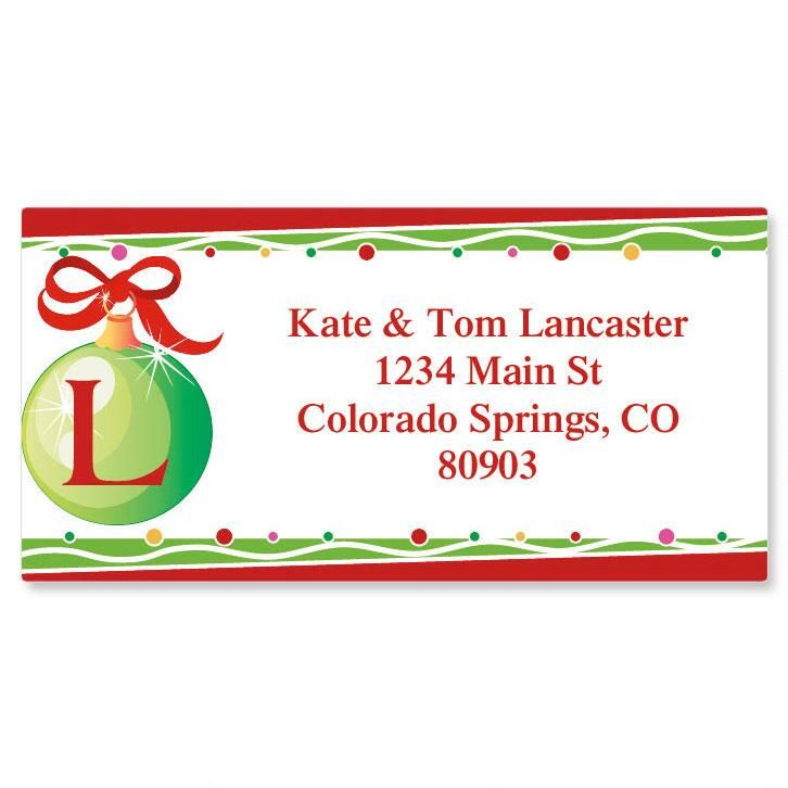 Initial Christmas Border Address Labels