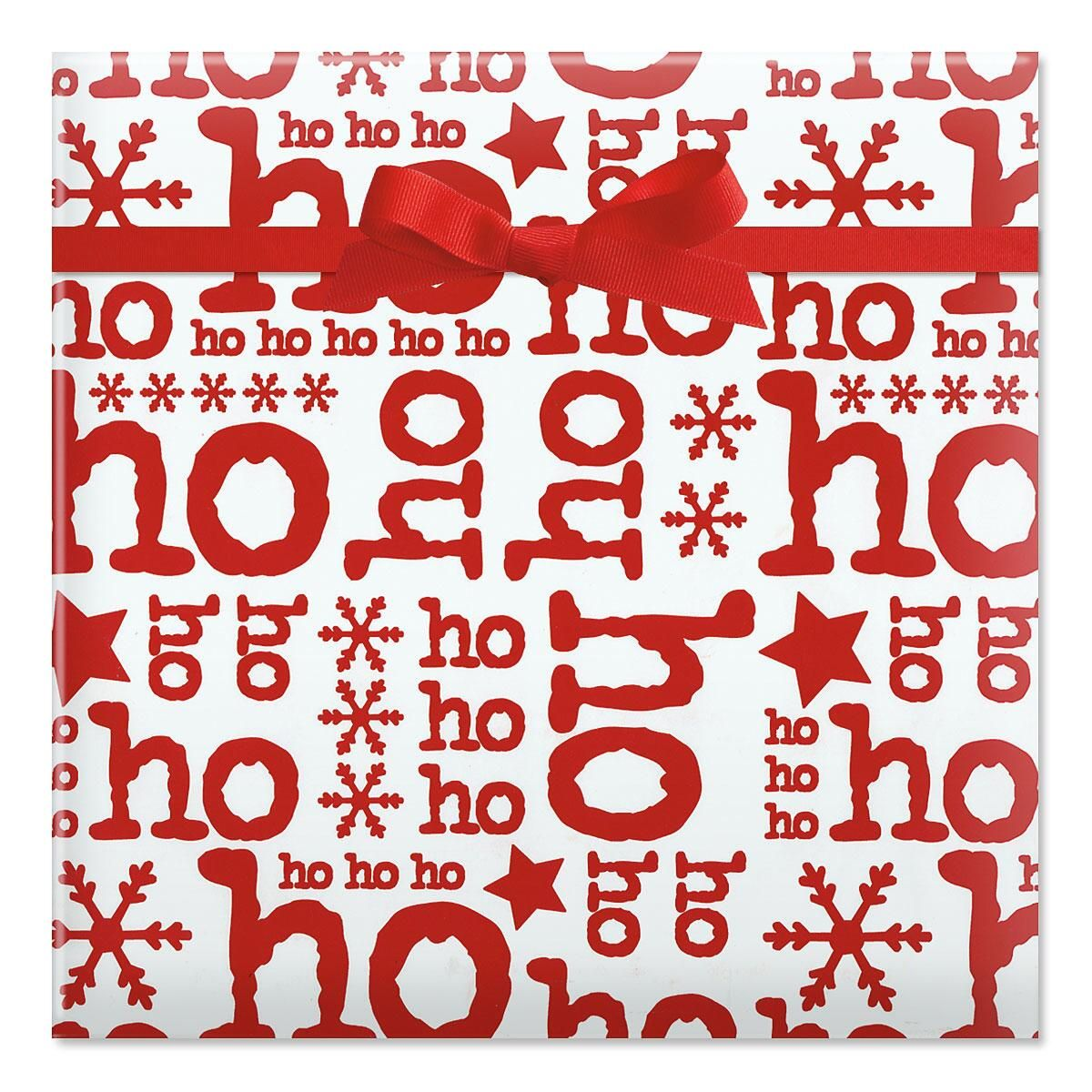 Ho Ho on White Jumbo Rolled Gift Wrap
