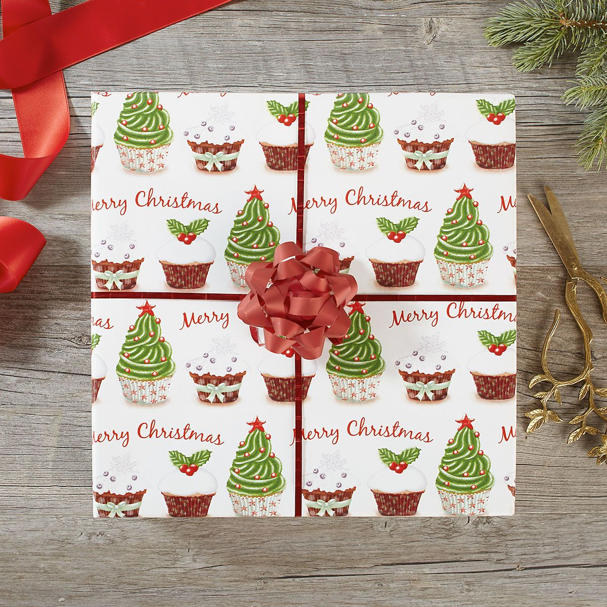 Christmas Cupcake Jumbo Rolled Gift Wrap and Labels