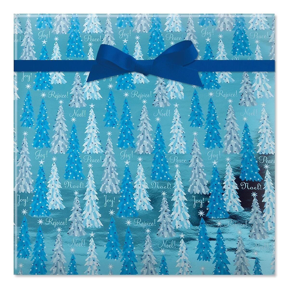 Noel Trees Foil Rolled Gift Wrap