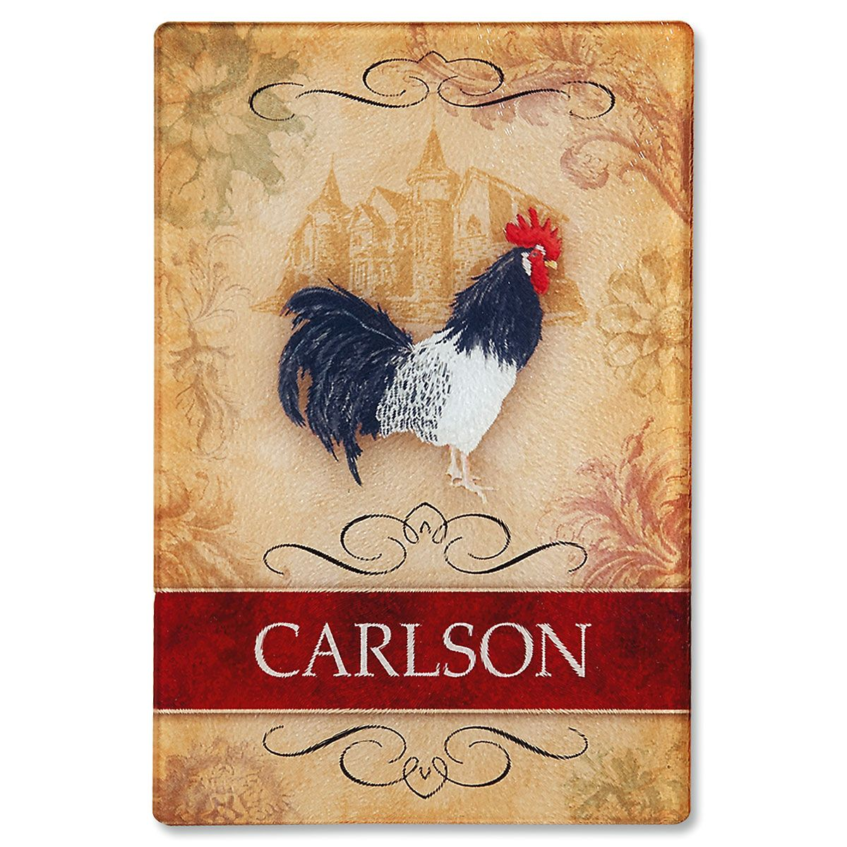 Rooster Tempered Glass Cutting Board