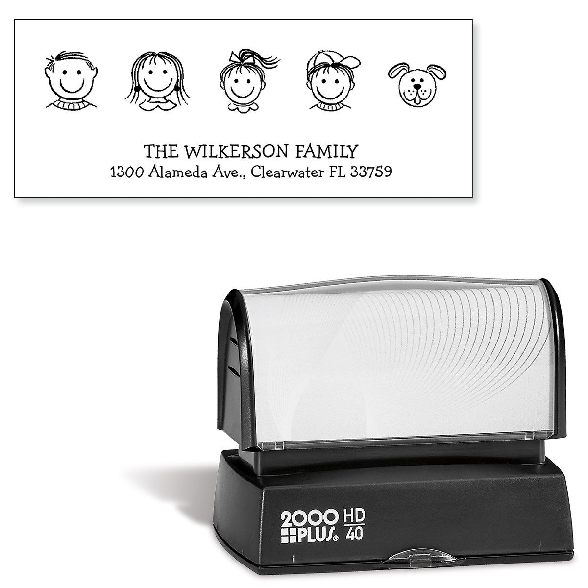Happy Family Pre-Inking Address Stamp