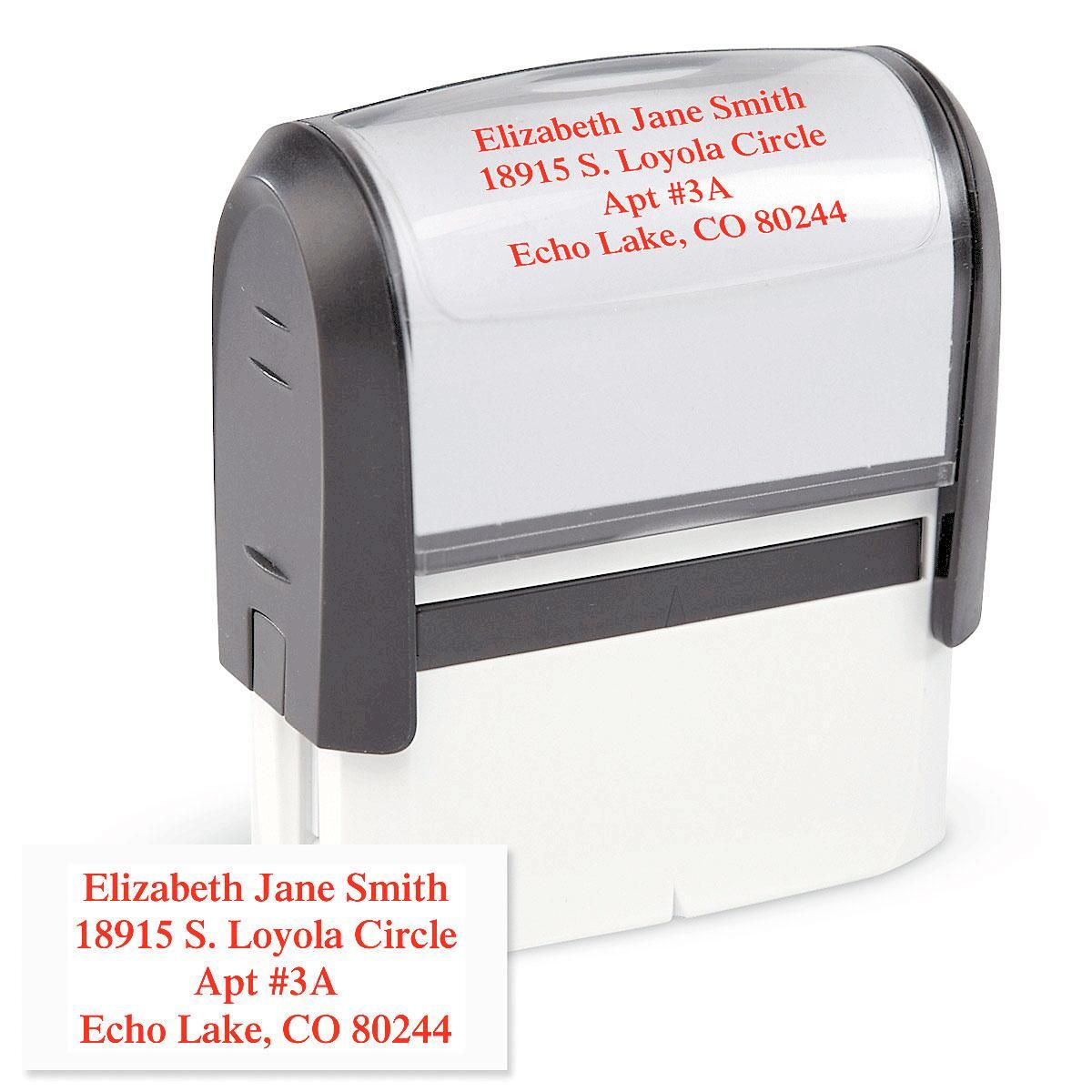 Standard Self-Inking Address Stamp - Red Ink