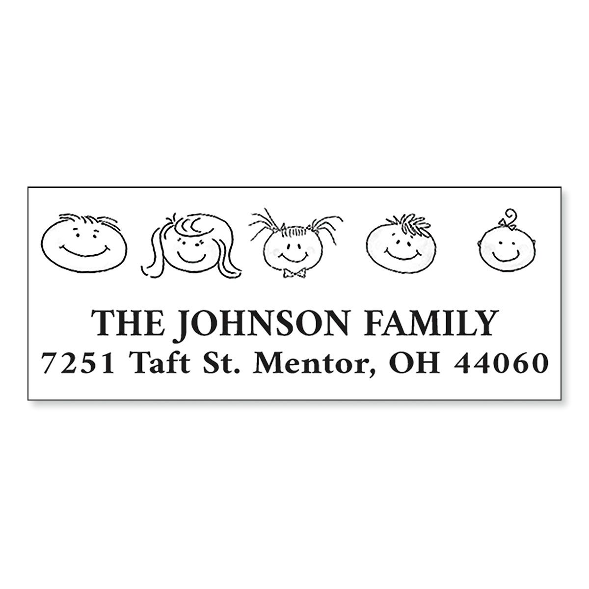 Happy Family Heads Pre-Inking Address Stamp