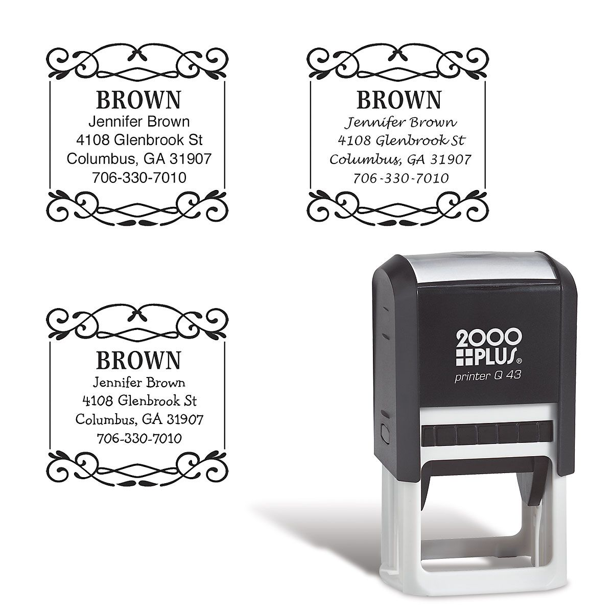 Square Border Self-Inking Address Stamp