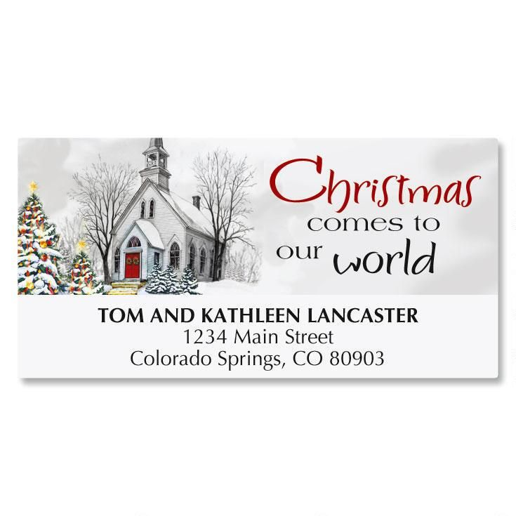 Country Church Christmas Address Labels