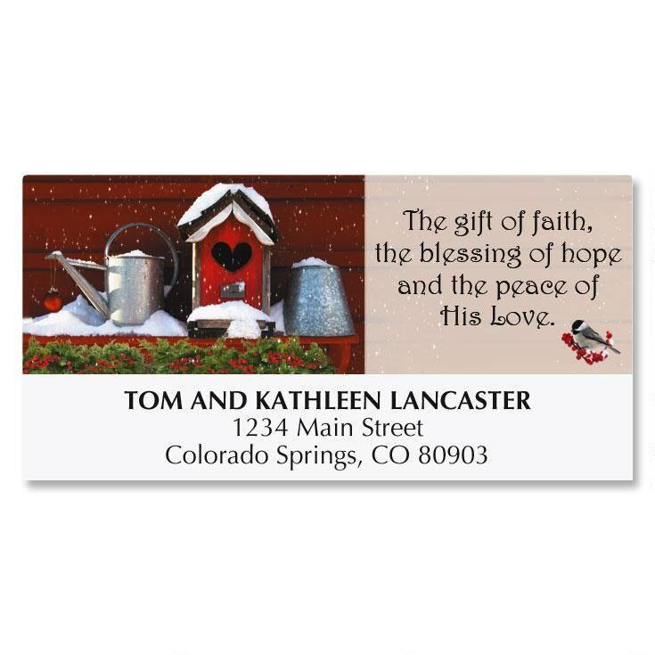 Birdhouse Christmas Address Labels