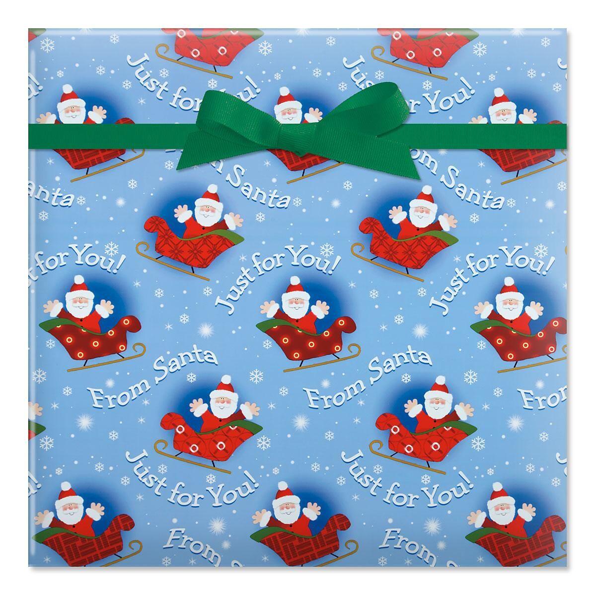 Santa on Sleigh Jumbo Rolled Gift Wrap