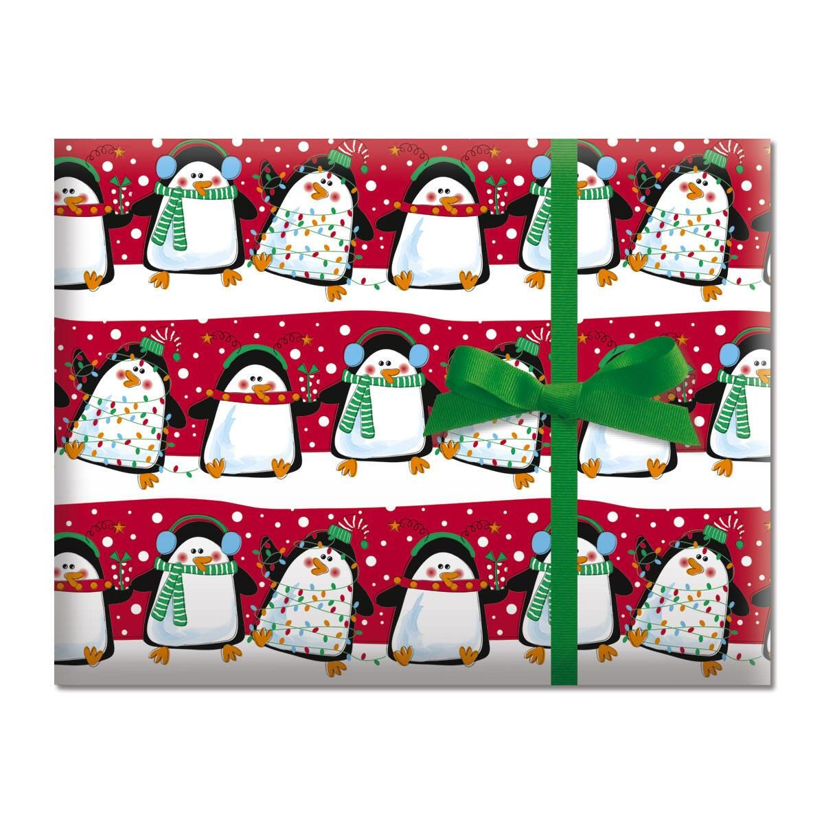 Festive Penguins Jumbo Rolled Gift Wrap