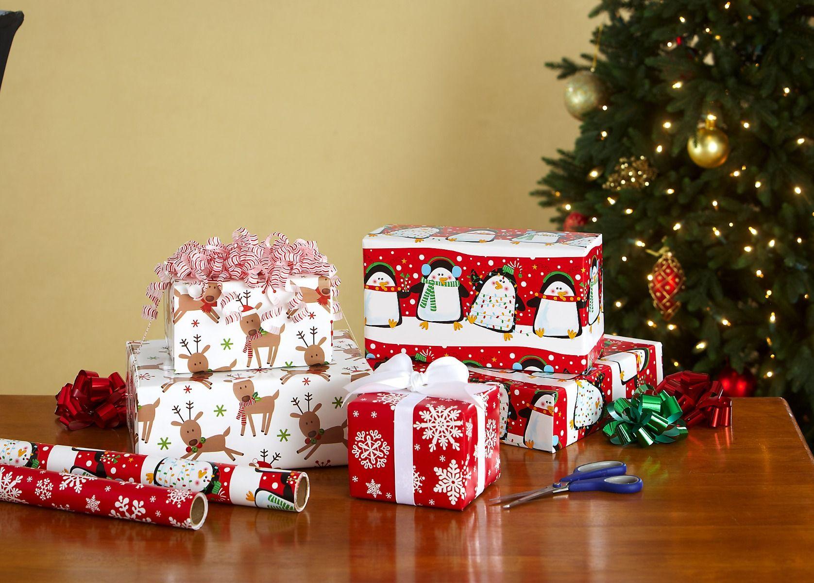 Festive Penguins Jumbo Rolled Gift Wrap