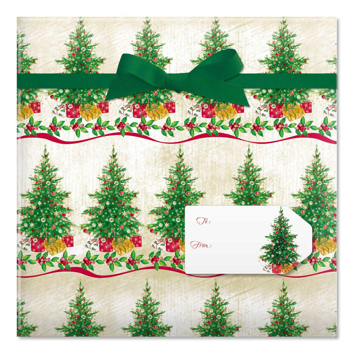 Classic Christmas Tree Jumbo Rolled Gift Wrap and Labels