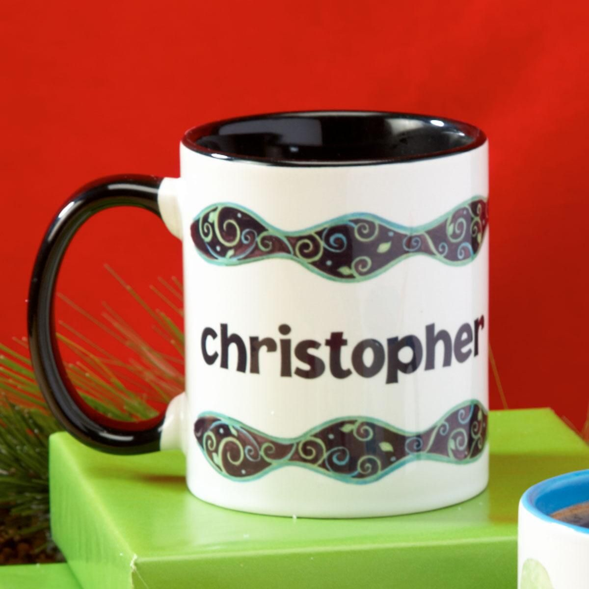 Swirls Personalized Name Mug